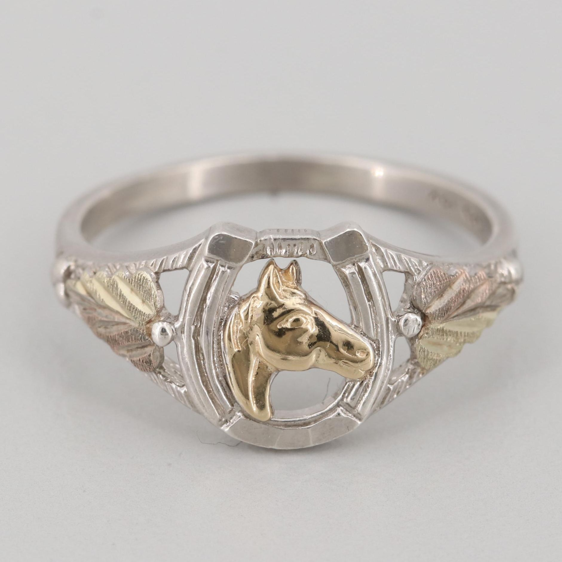 Sterling Silver Horseshoe Ring with Green and Yellow Gold Accents