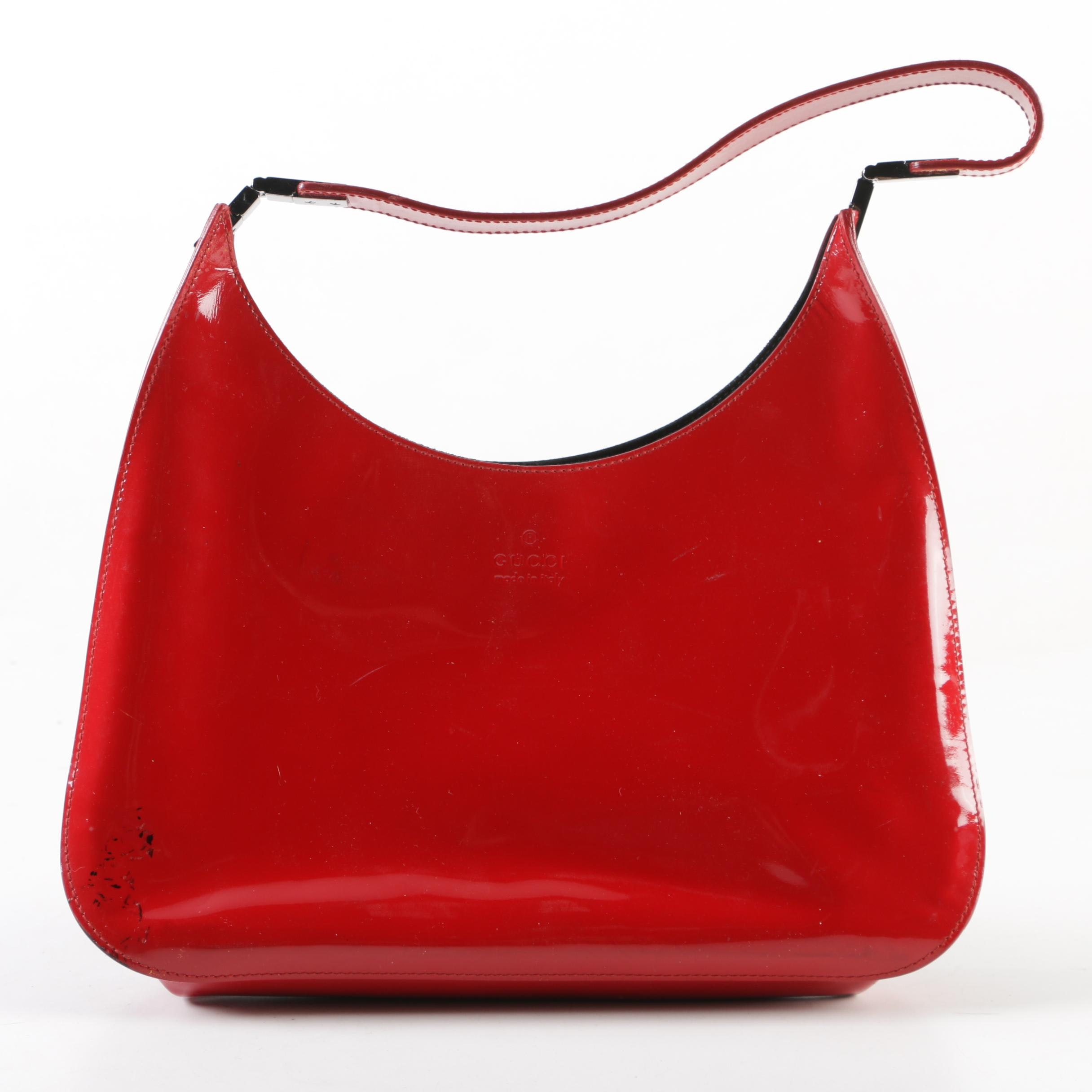 Gucci Red Patent Leather Hobo Bag, Made in Italy
