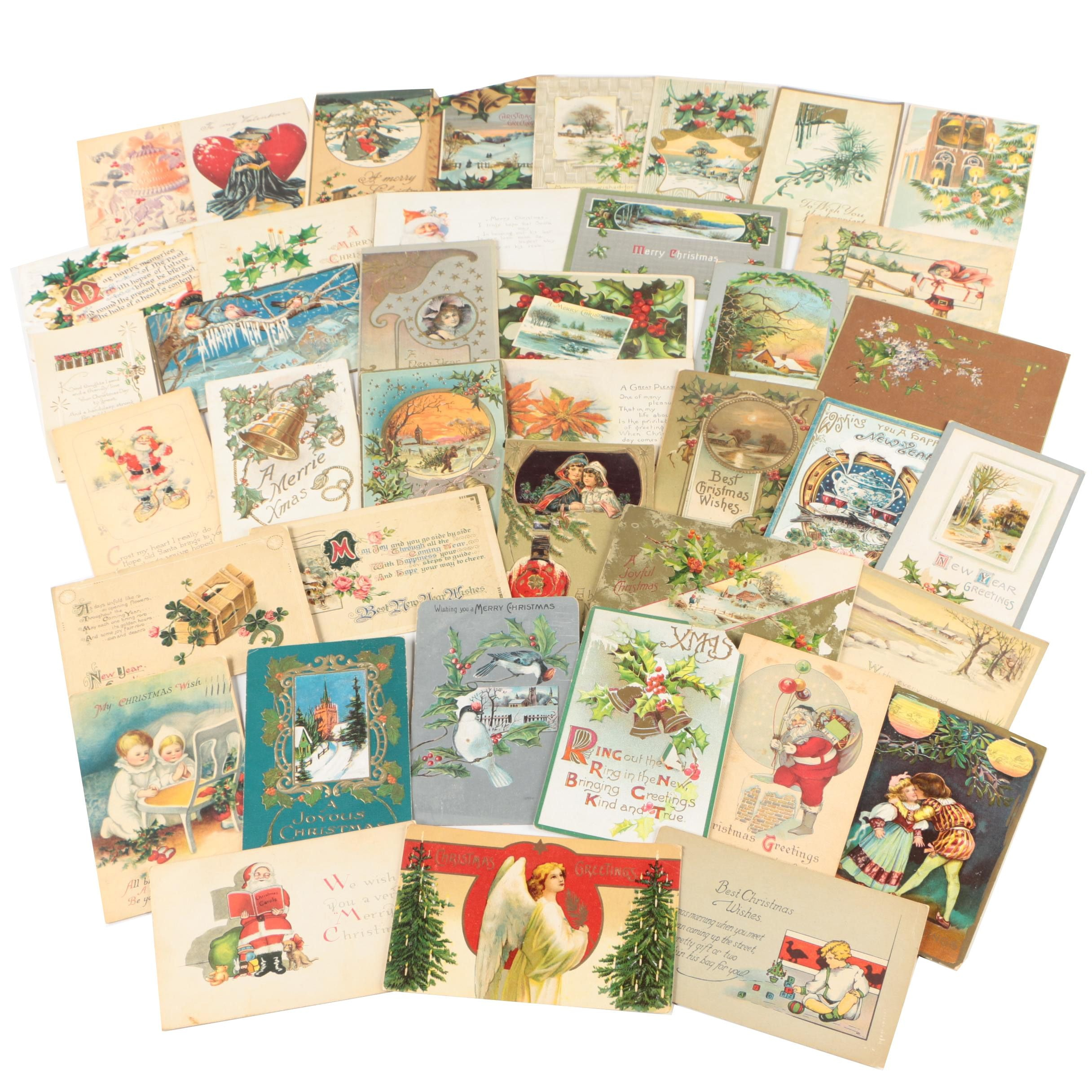 Christmas and New Years Postcards, 1908 - 1920s