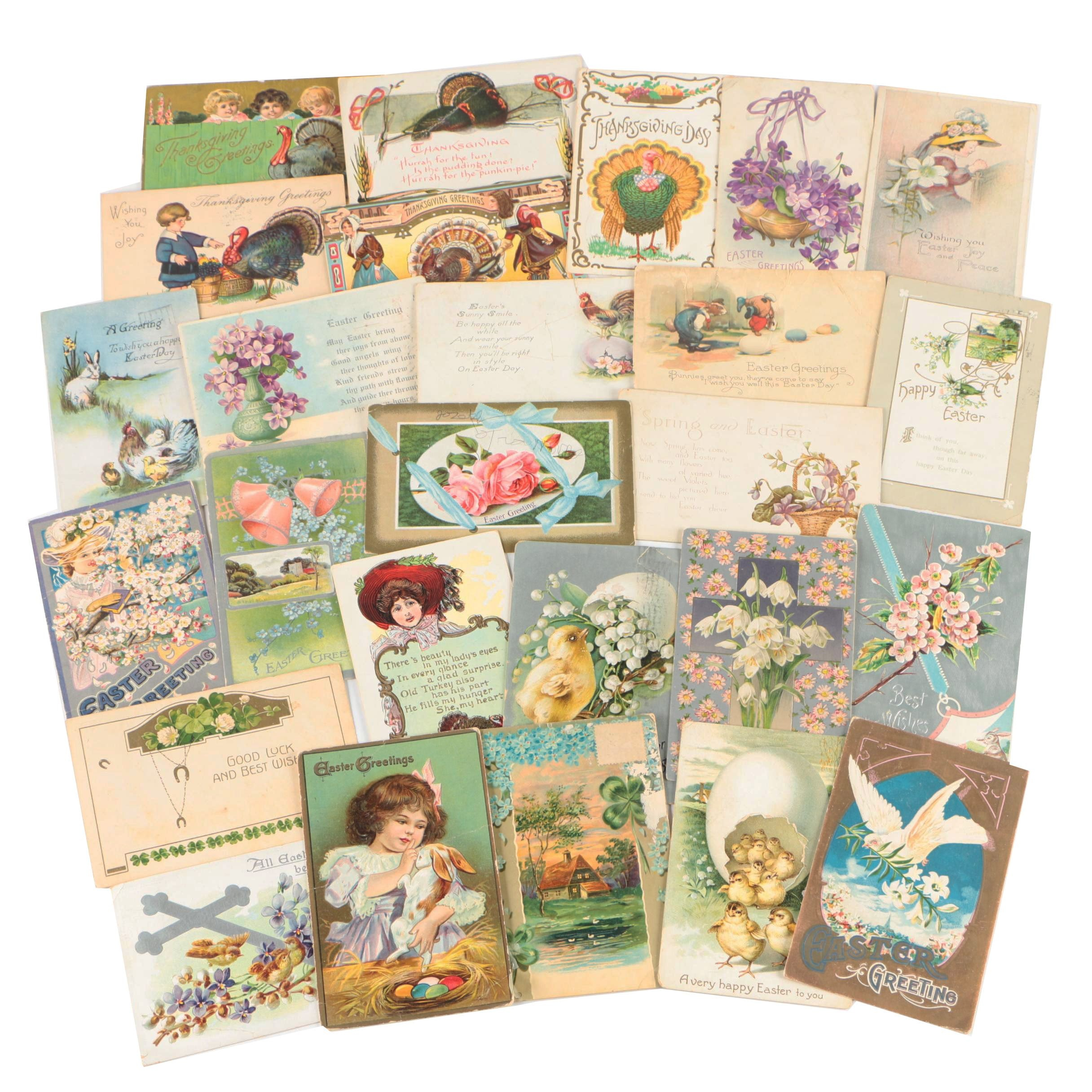 Holiday Postcards Including Easter and More, 1908 - 1923