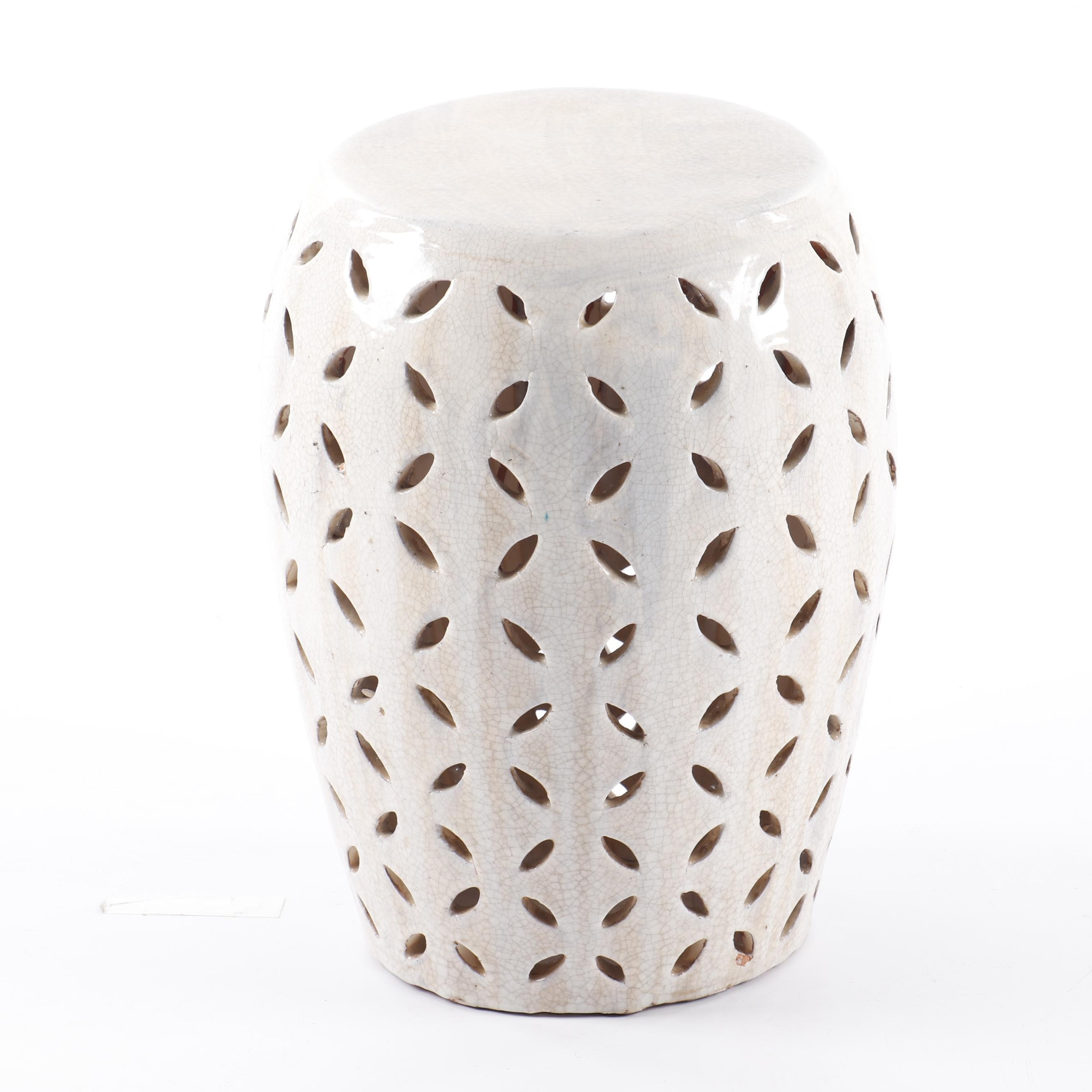 Reticulated Glazed Terracotta Garden Stool