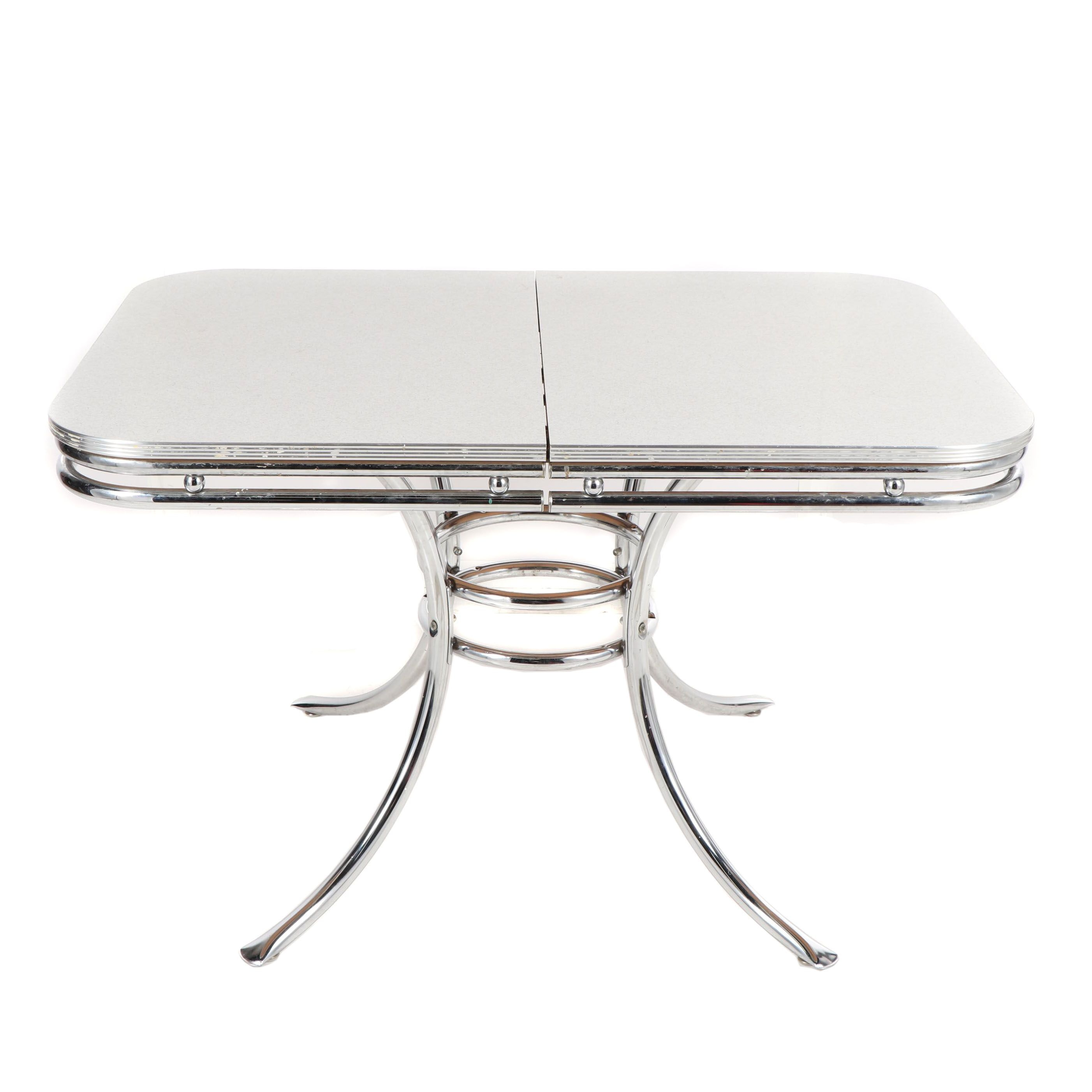 Mid Century Modern Melamine Resin and Chrome Kitchen Table, 20th Century