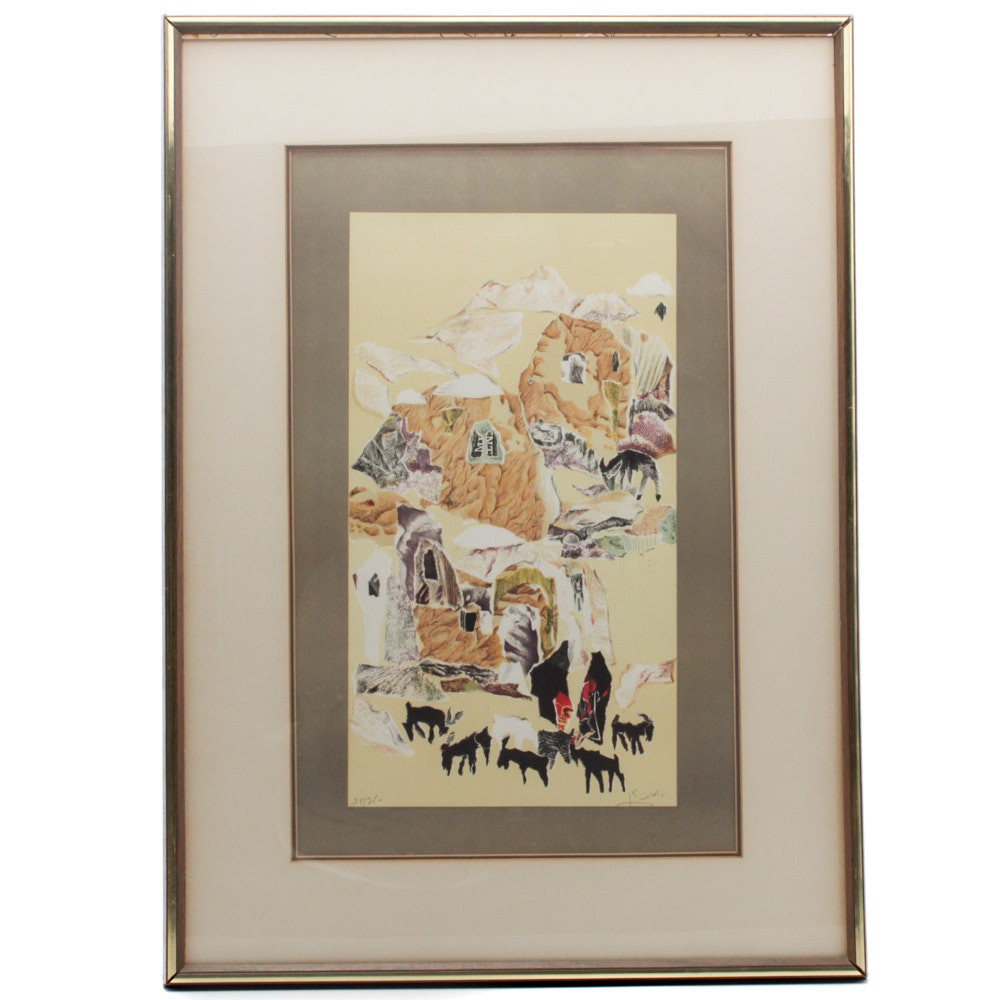 Mid 20th Century Lithograph of Abstract Nomadic Landscape
