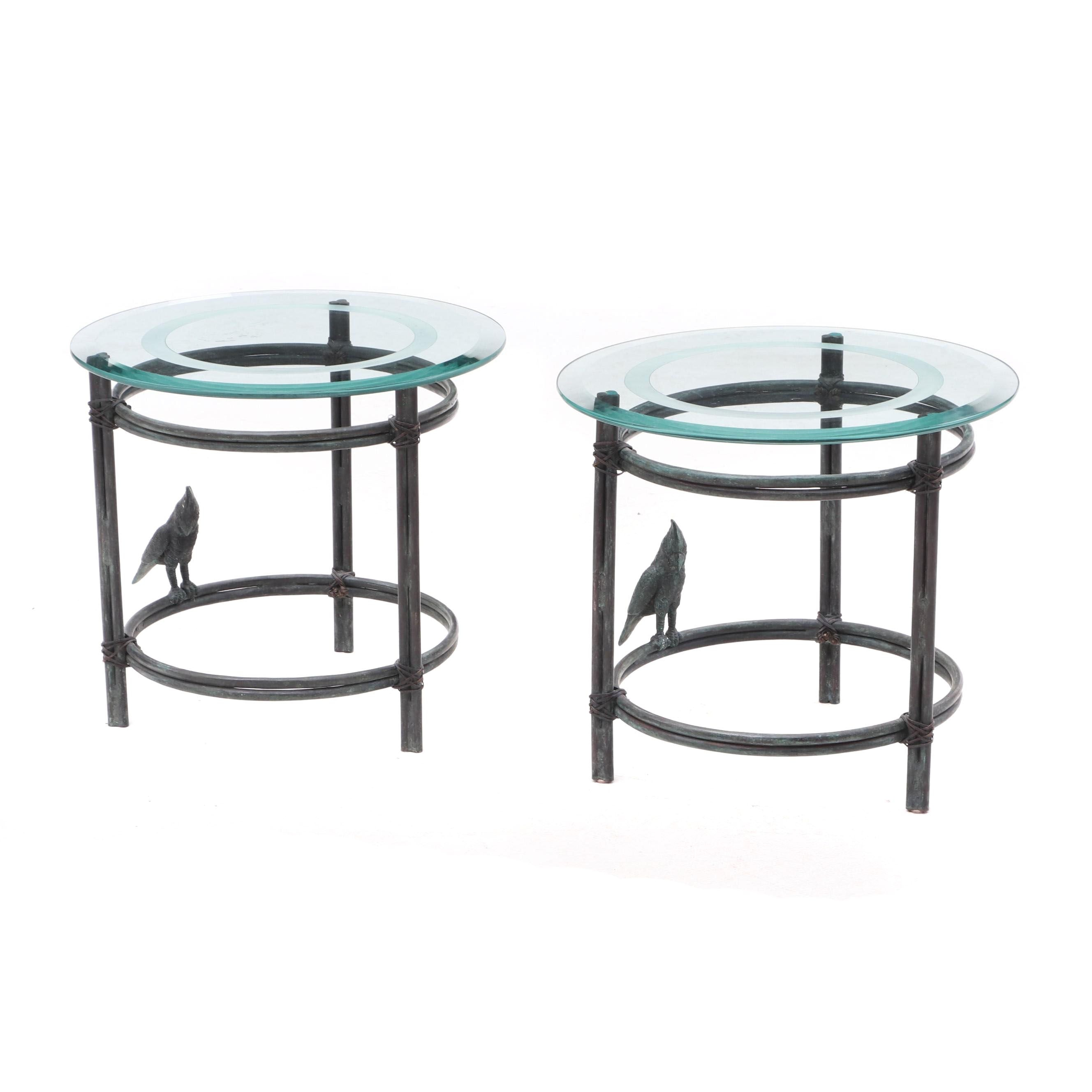Two Outdoor Etched Glass Metal Side Tables with Bird Accent