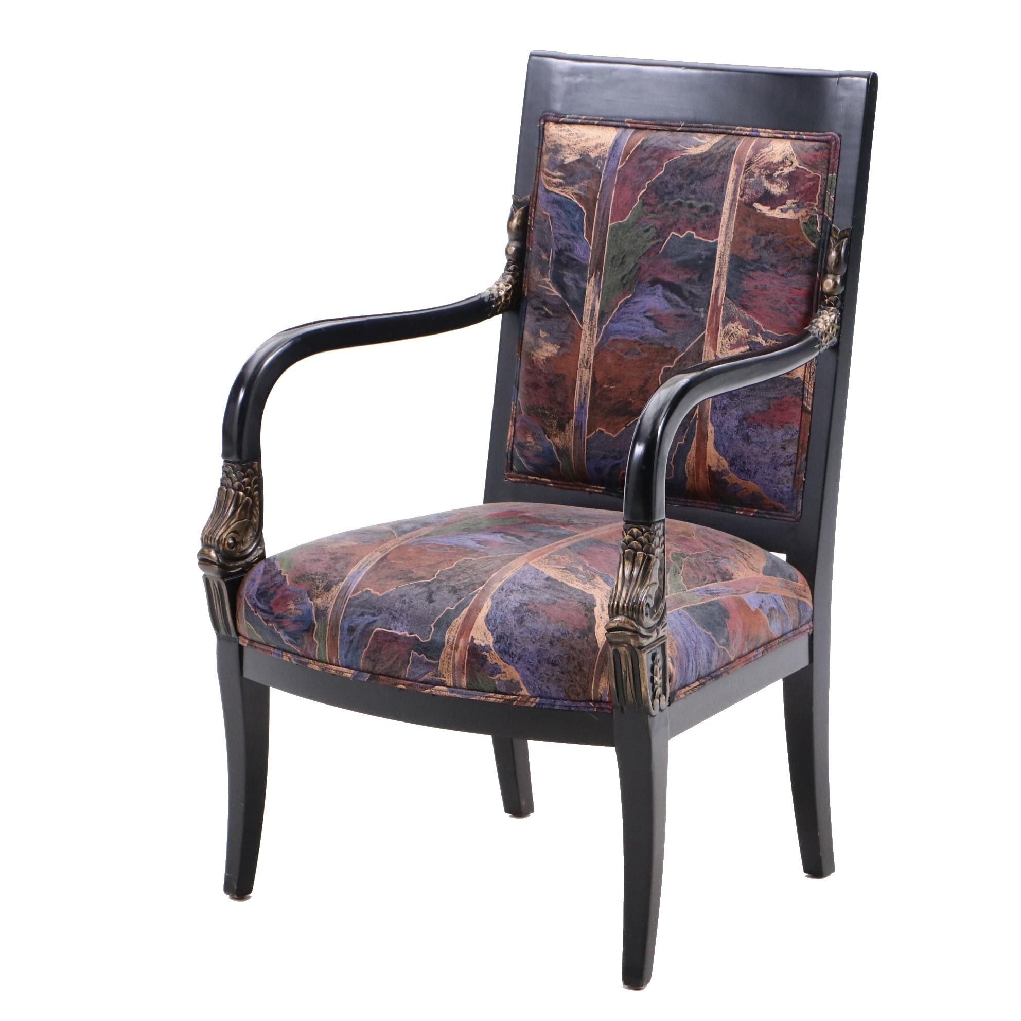 Empire Style Open Armchair with Ebonized Finish and Dolphin Accents