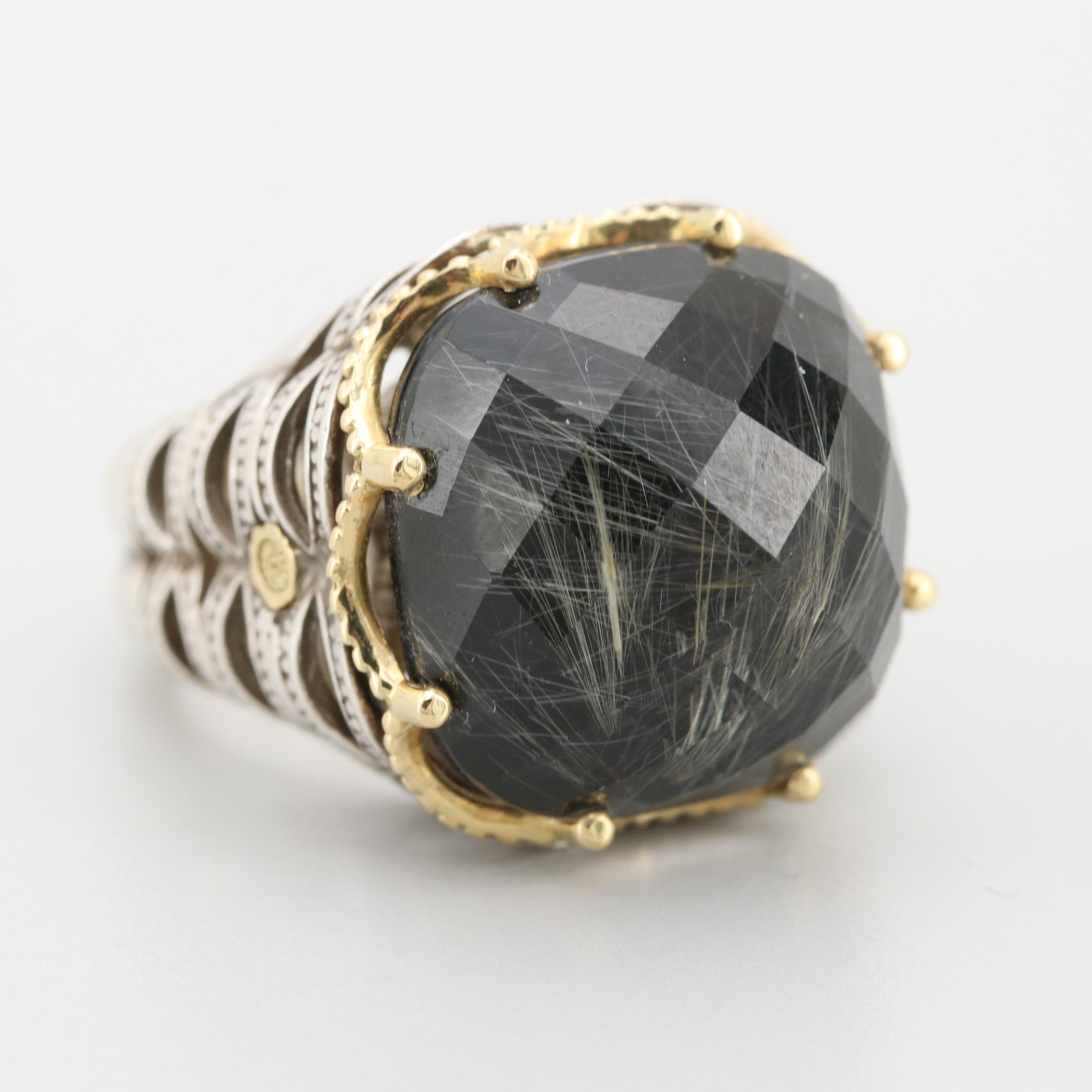 Tacori Sterling Rutilated Quartz Doublet Ring with 18K Gold Accents