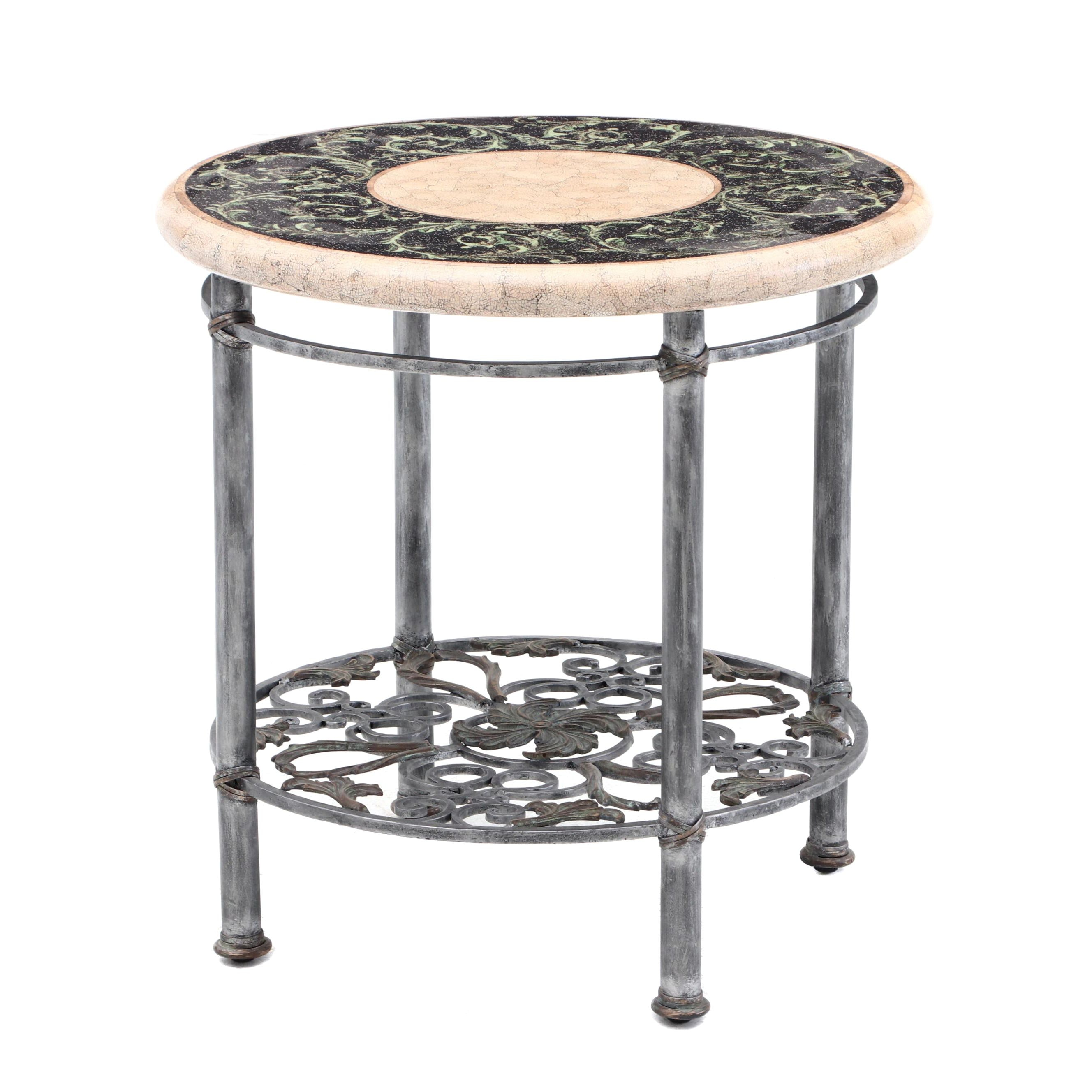Round Wrought Iron Occasional Table with Faux Tile Top