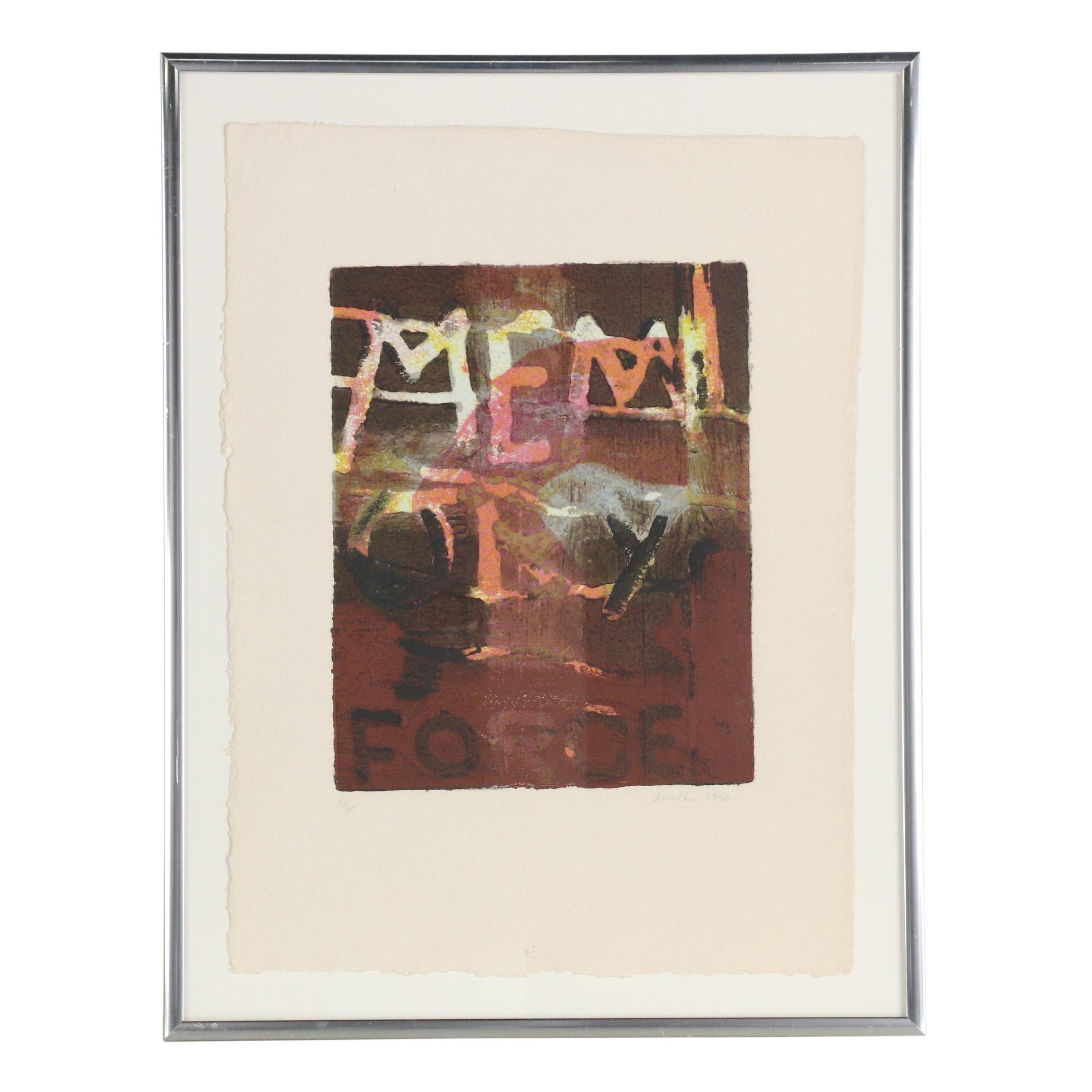 """John Walker 1990 Embellished Serigraph """"The Forge"""""""