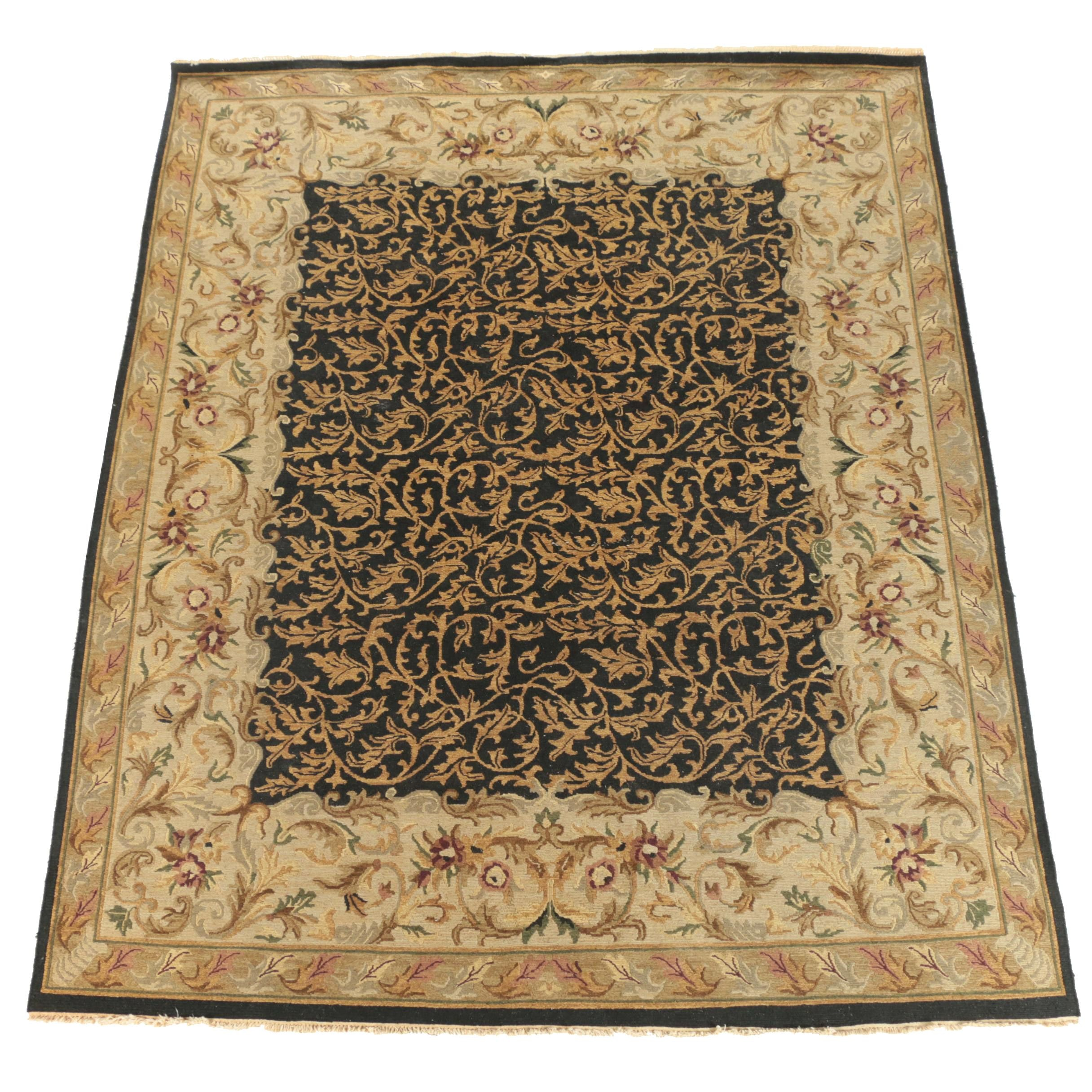 Handwoven Indian Foliate Wool Soumak Rug