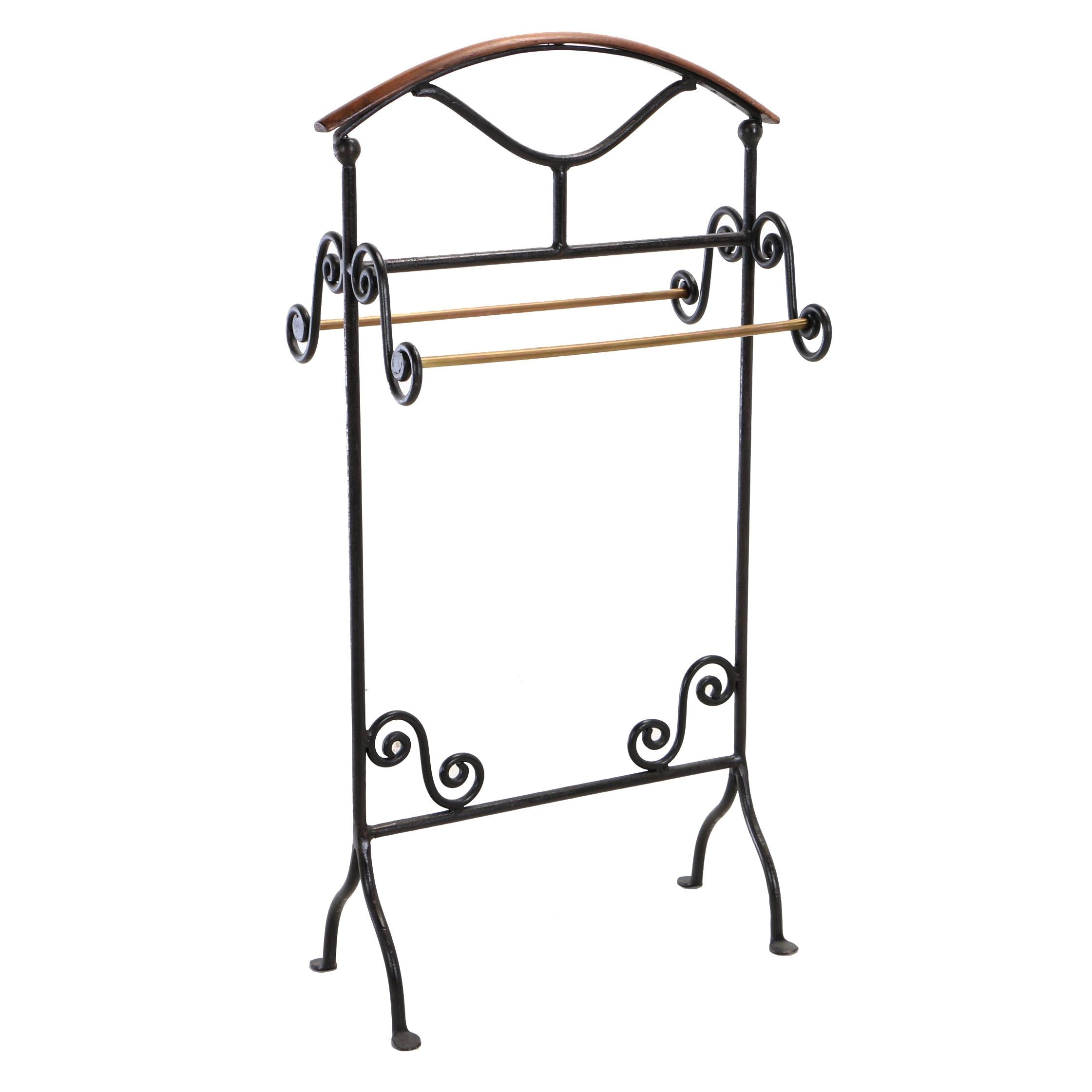 Iron, Brass, and Wood Freestanding Towel Rack, 20th Century