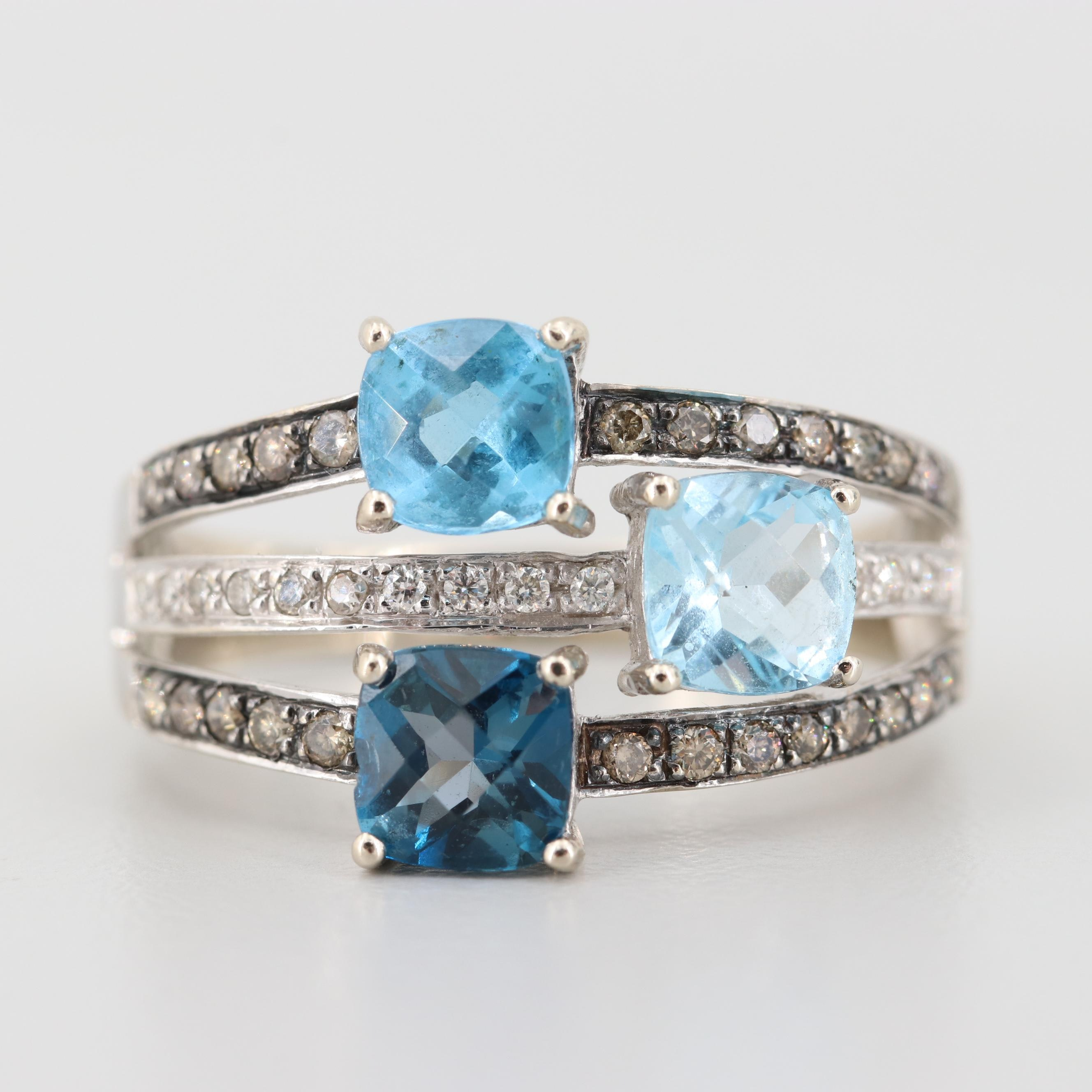 Le Vian 14K White Gold Blue Topaz and Diamond Ring