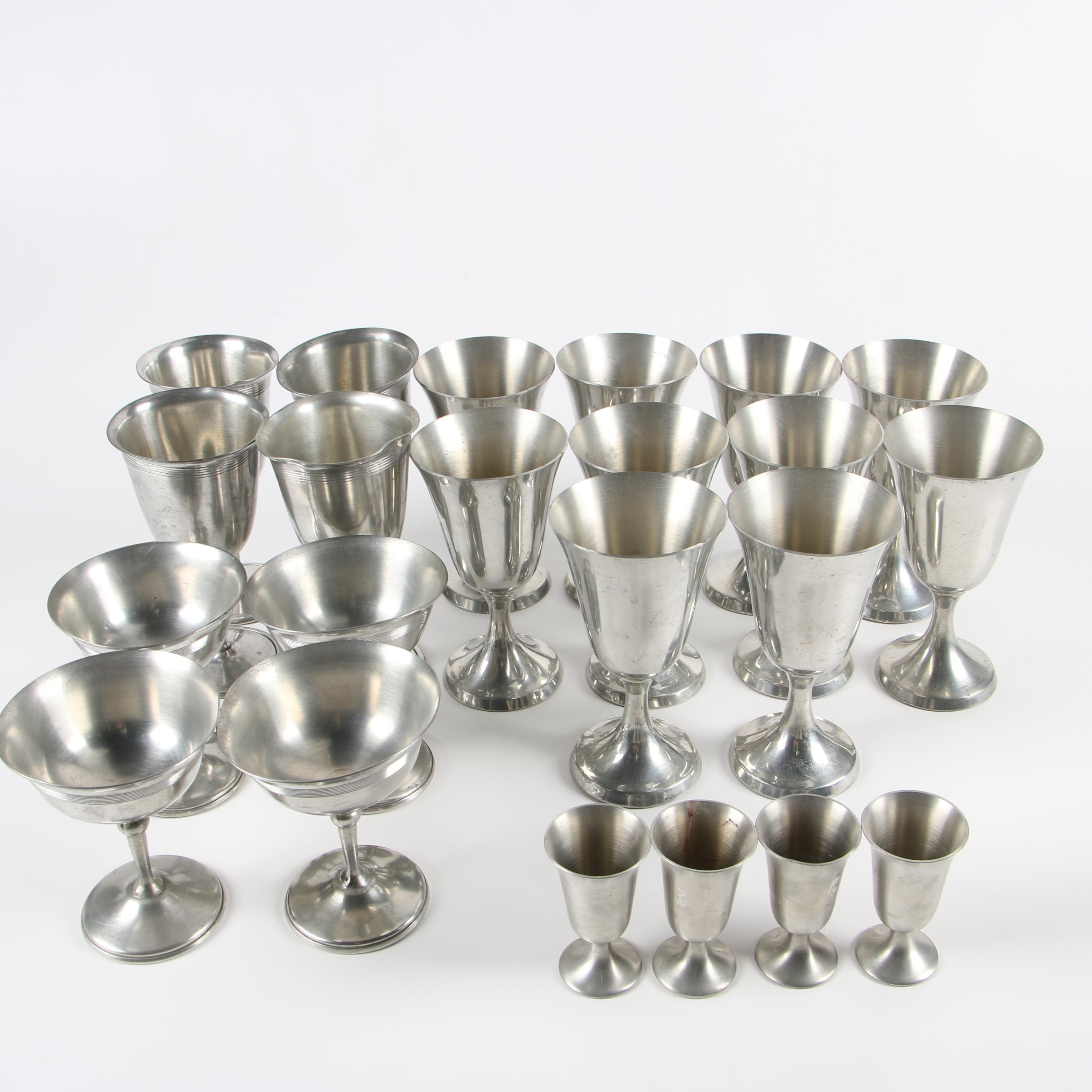 Stieff and Towle Pewter Wine Goblets and Cordials and Other Glasses