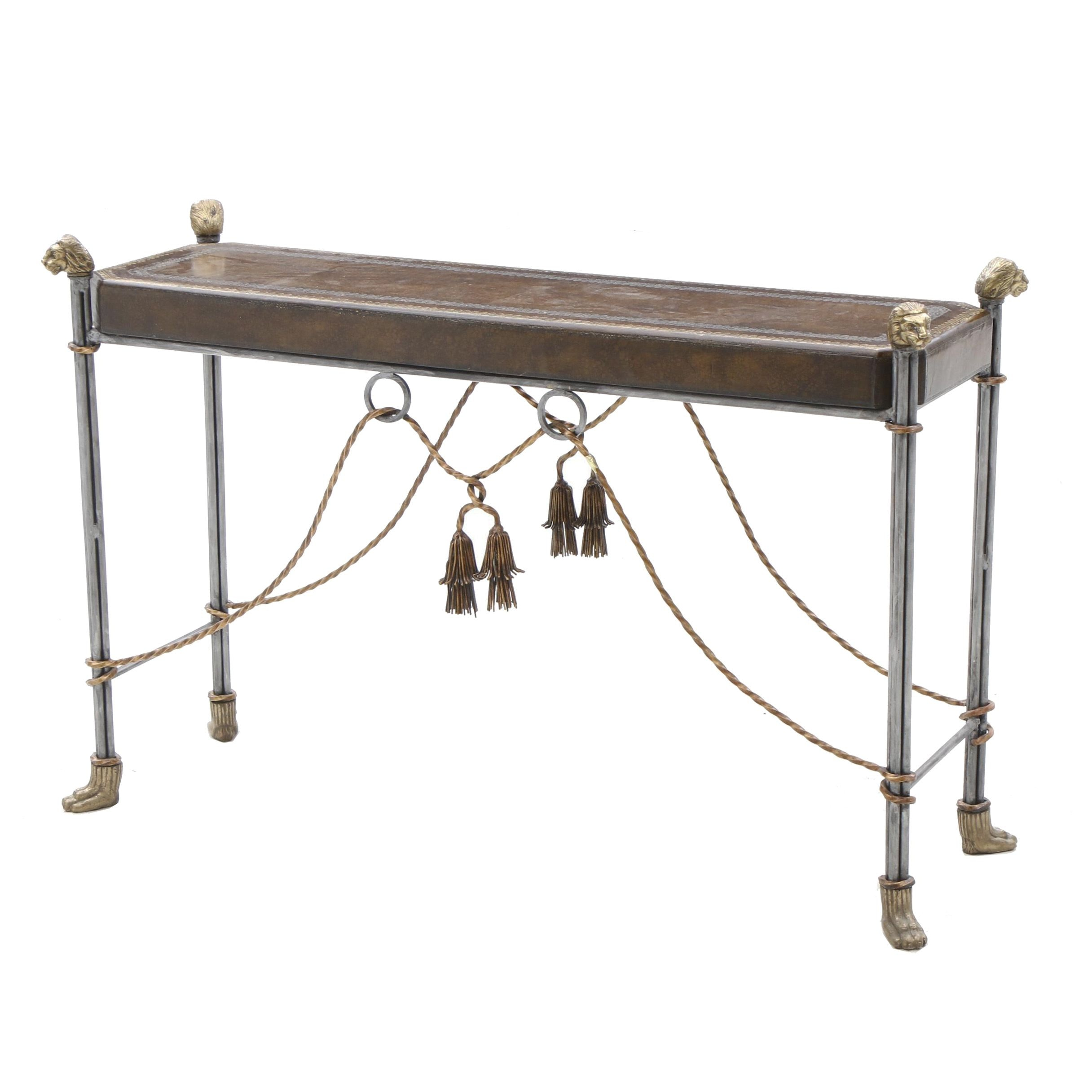 Maitland Smith Leather Top Console Table With Lion Head Accents