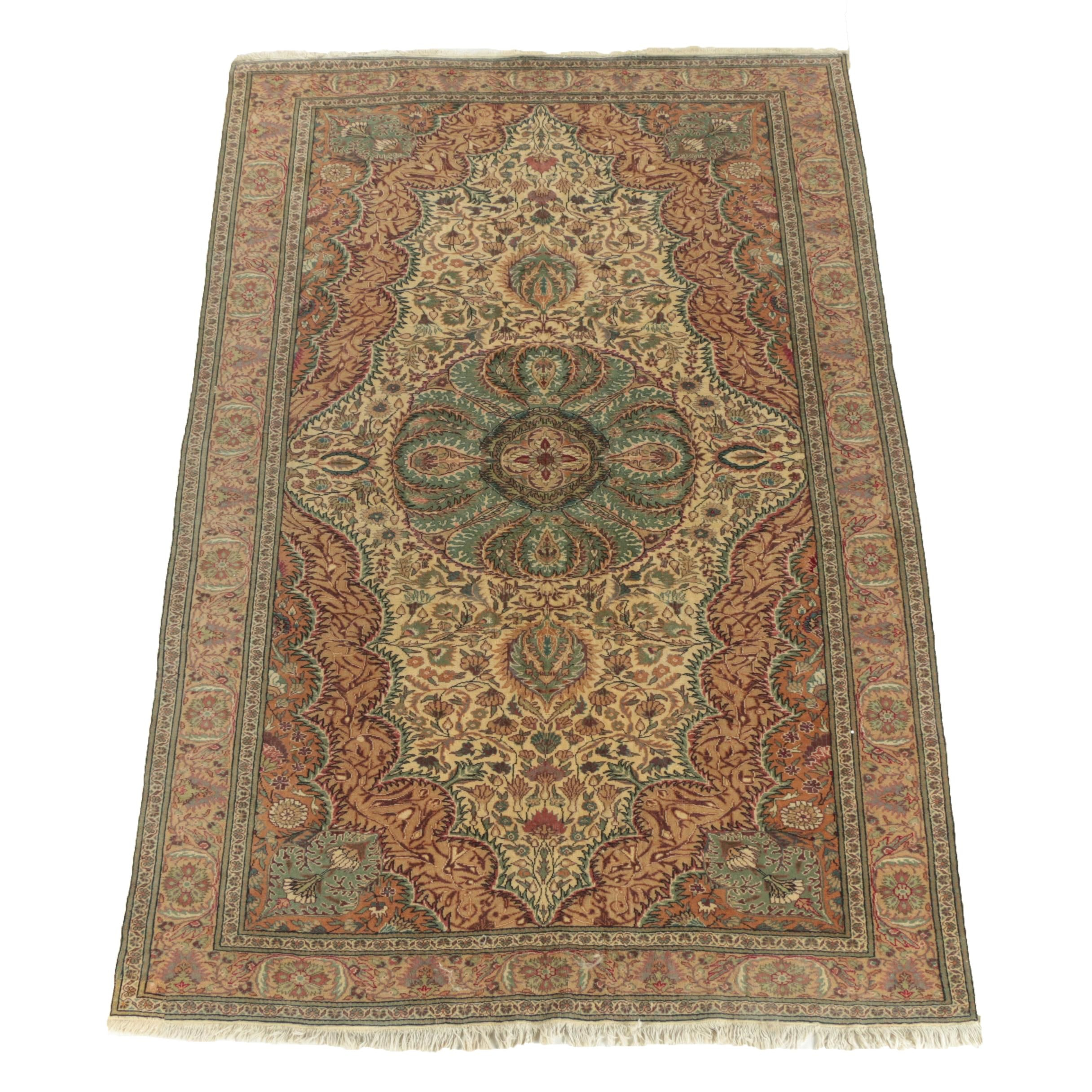 Hand-Knotted Turkish Hereke Wool Rug