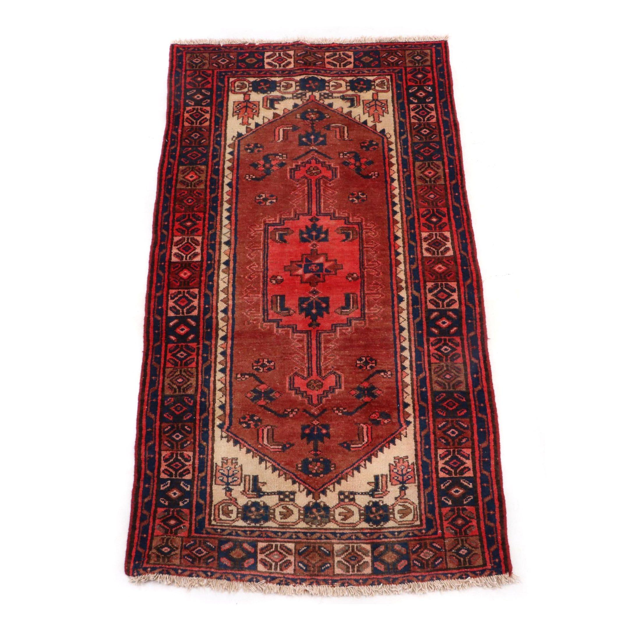 Hand-Knotted Persian Hamadan Rug