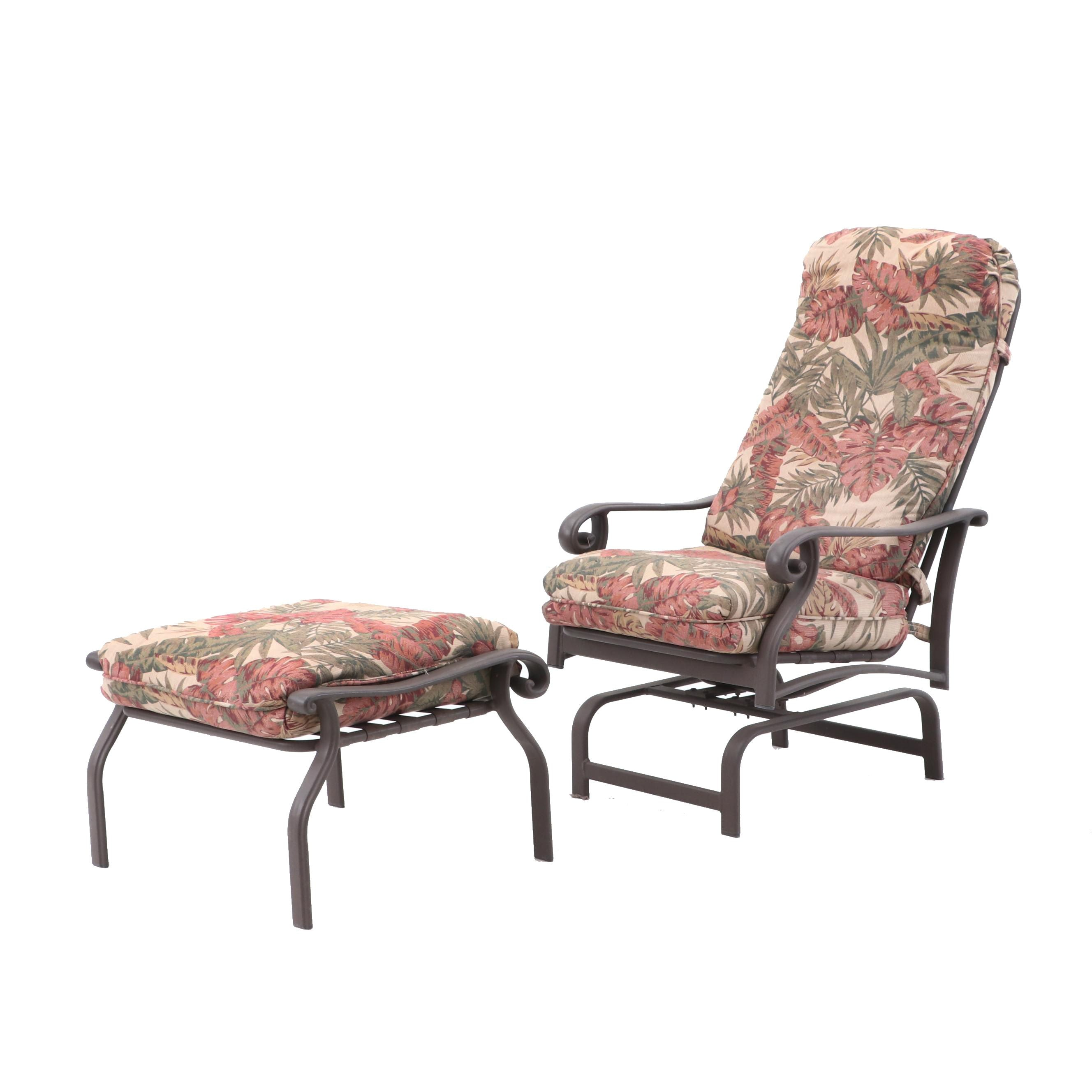 Patio Rocking Lounge Chair with Ottoman