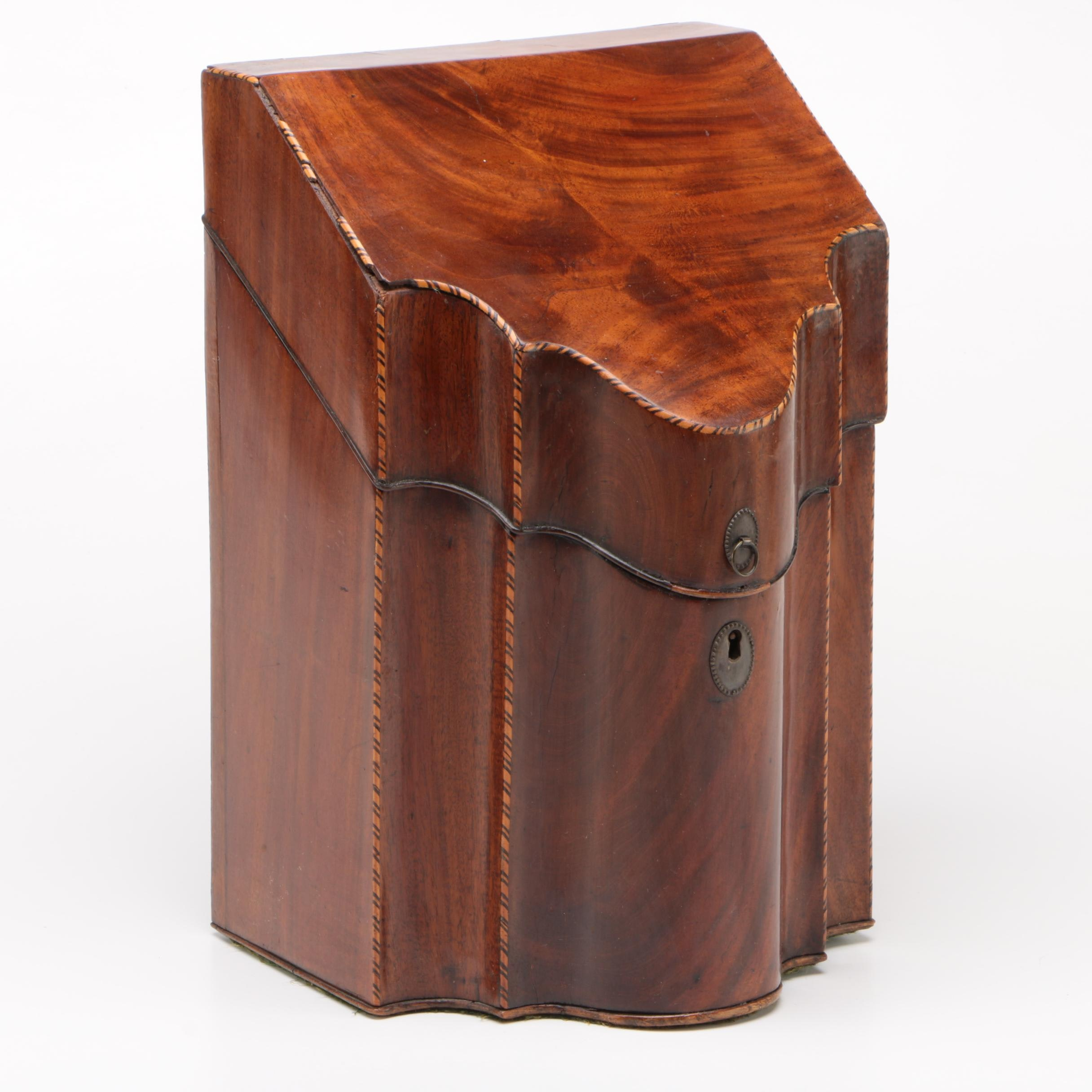Georgian Style Mahogany and Inlaid Knife Box, Late 19th/ Early 20th Century