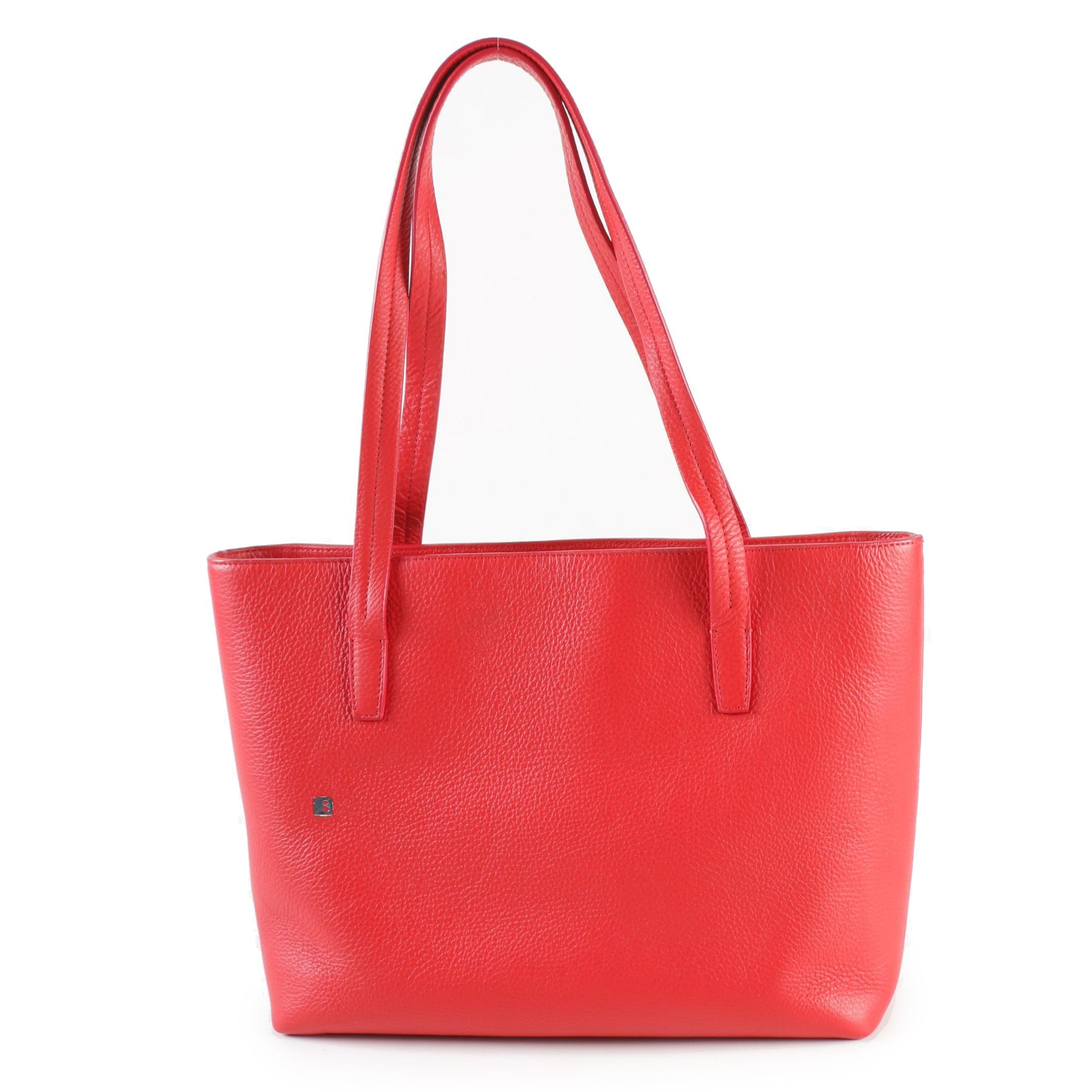 Bally Red Pebbled Leather Tote