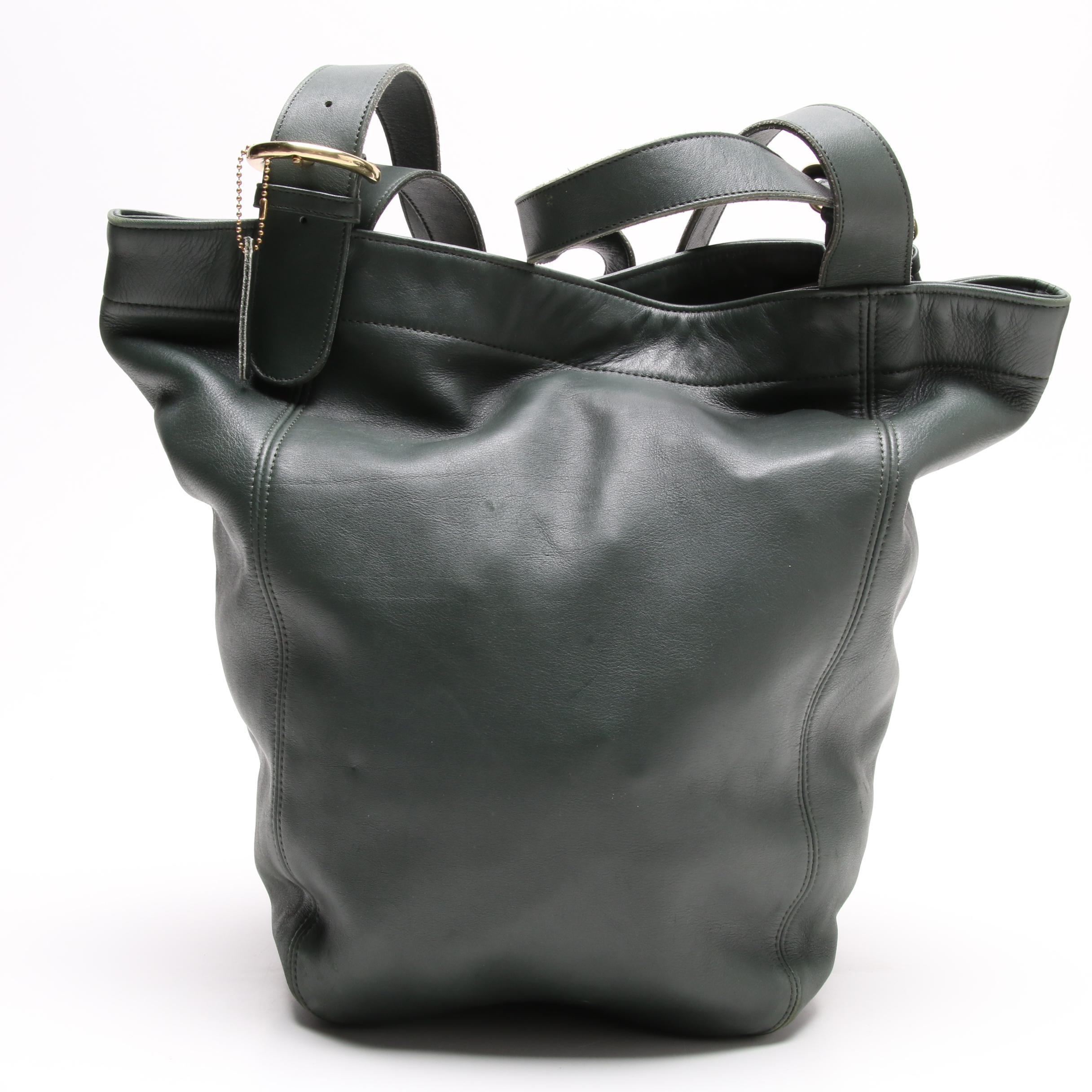 Vintage Coach Green Leather Soho Waverly Duffel Bucket Bag