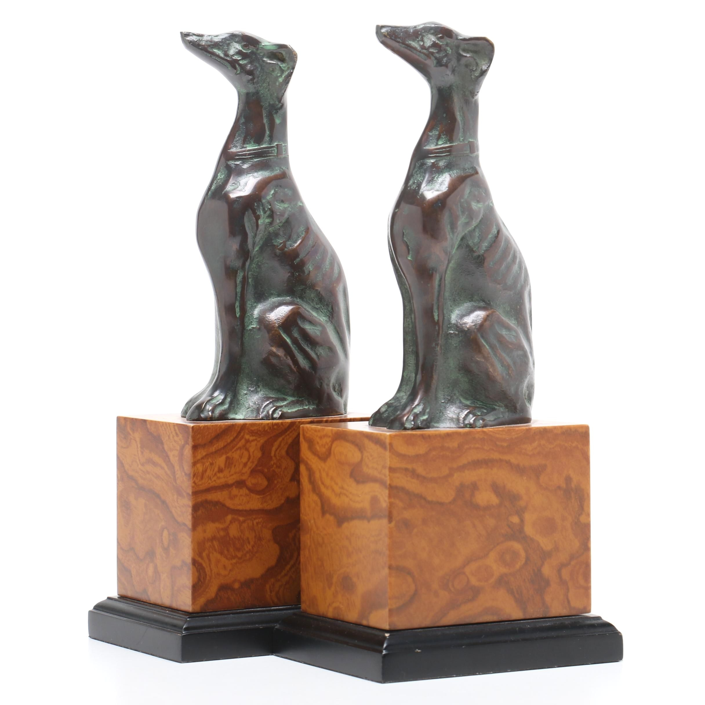 Pair of Greyhound Figural Bookends