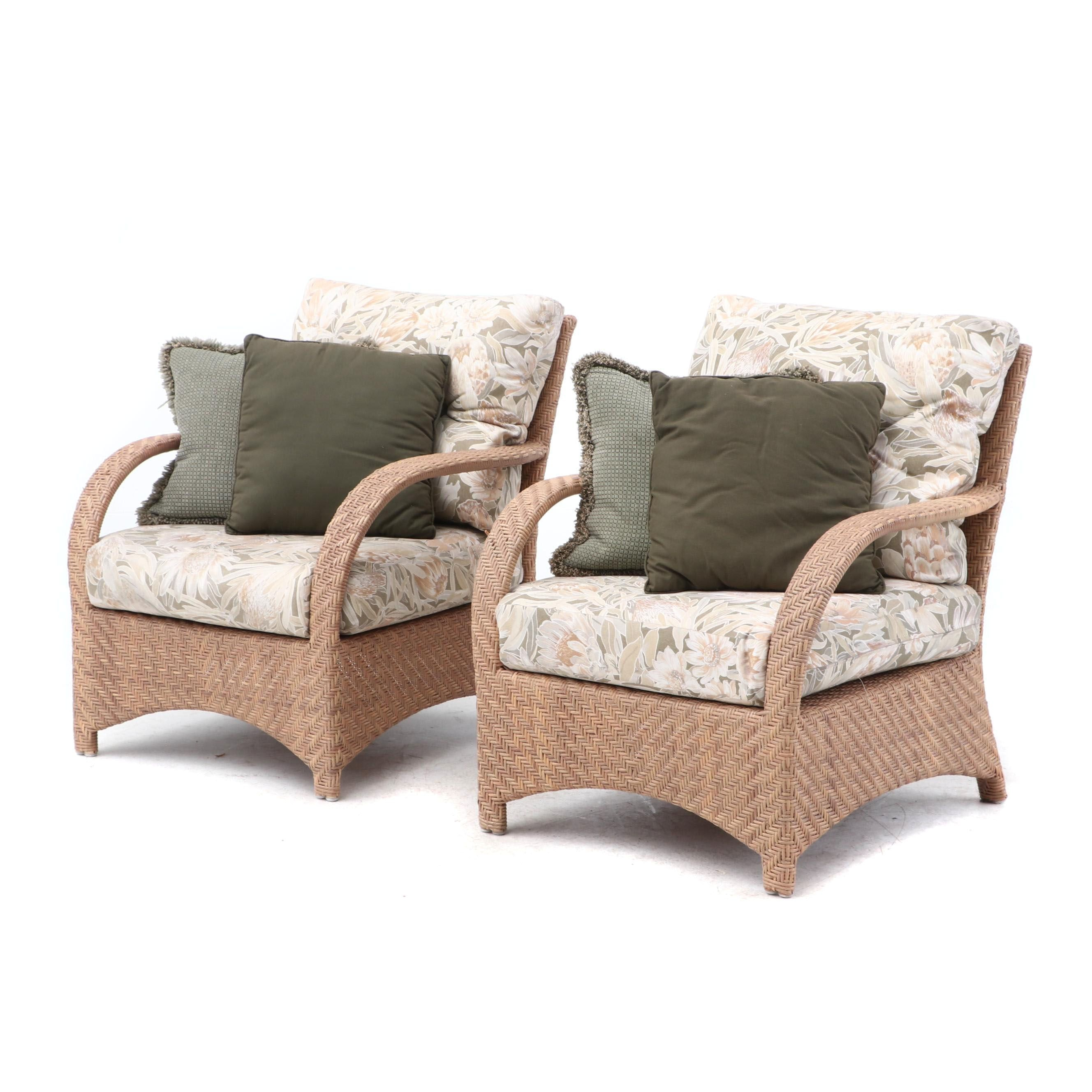 Wicker Patio Arm Chairs with Cushions and Accent Pillows