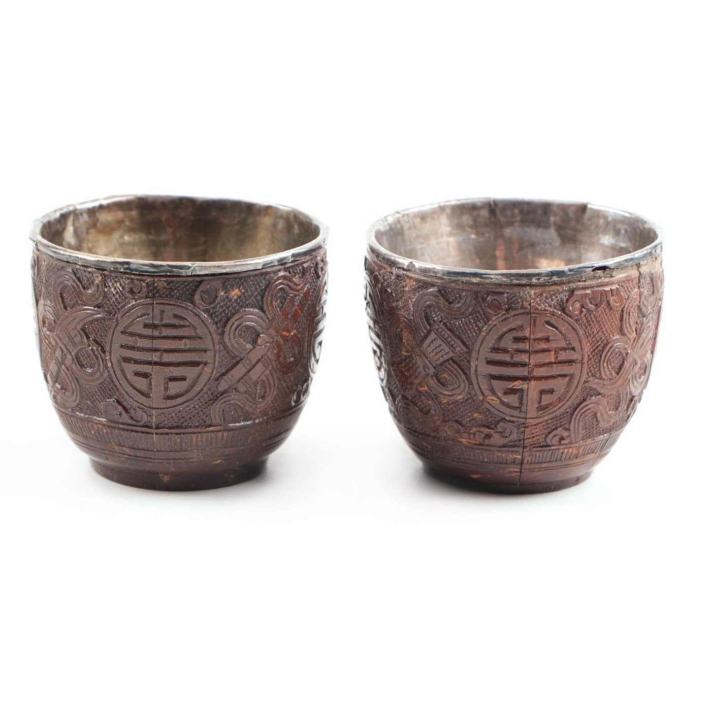 Rare Pair of Chinese Carved Coconut Cups with Silver Liners, Circa 1900