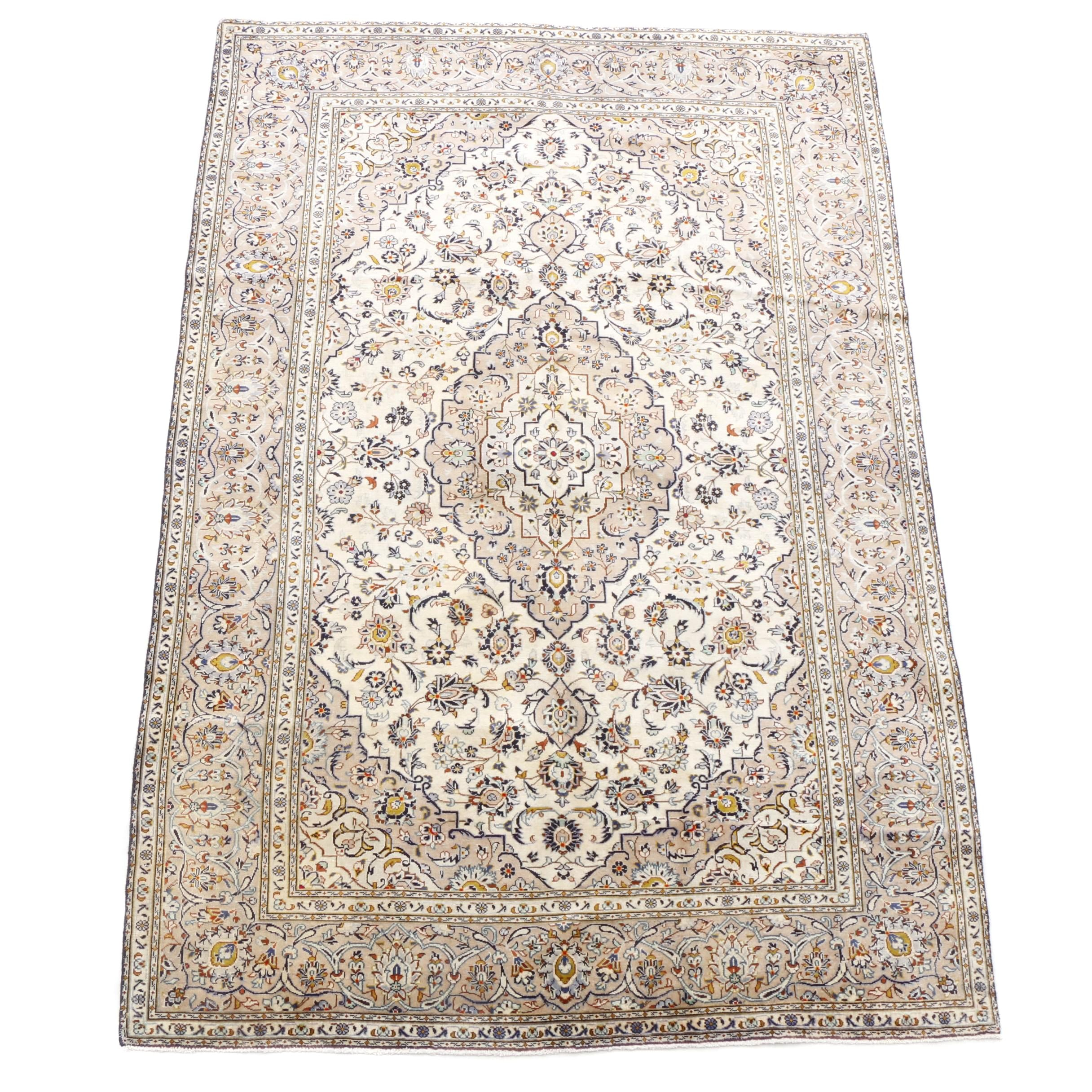 Hand-Knotted Indo-Persian Kashan Wool Rug