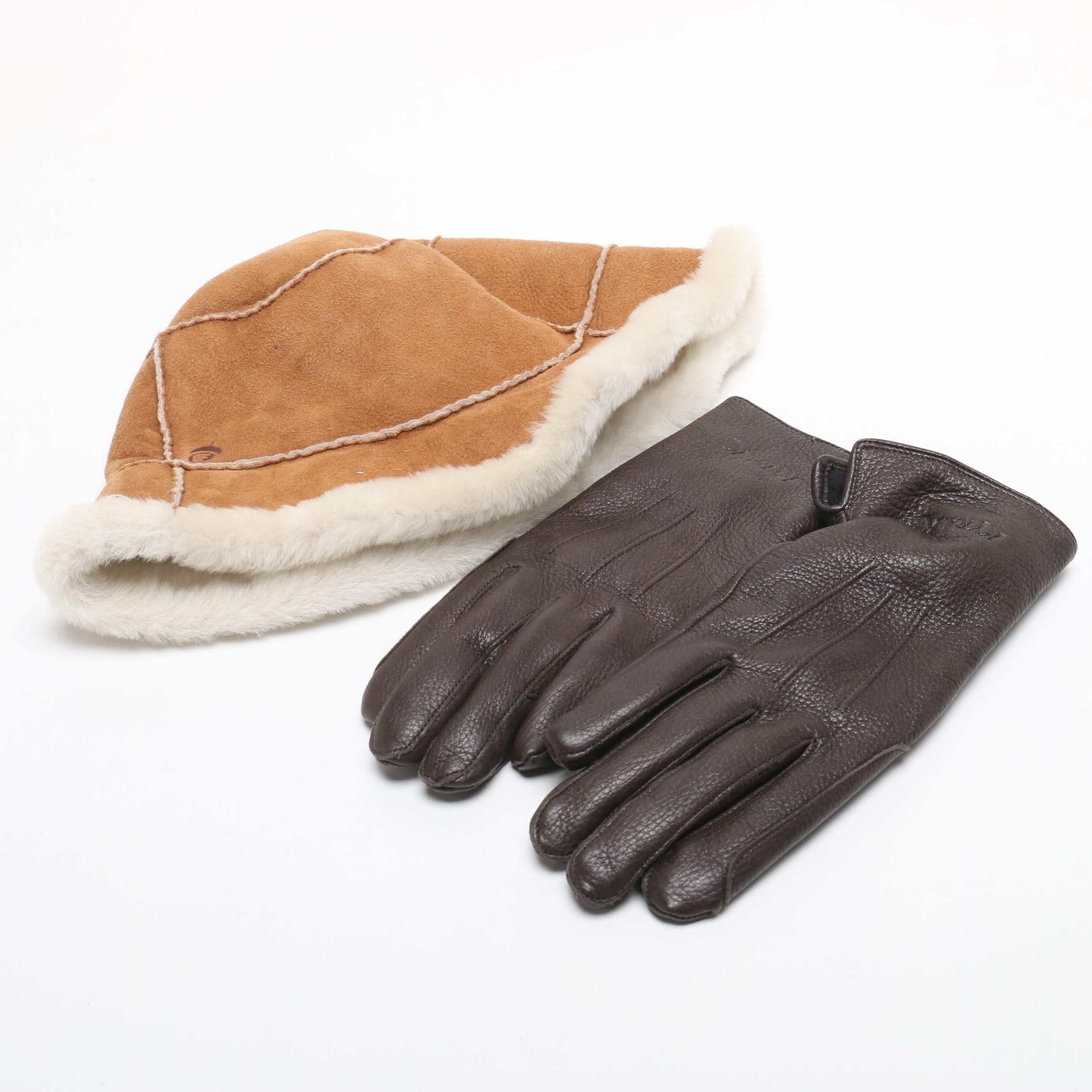 Women's Kyra. K Brown Leather Gloves and Shearling Hat