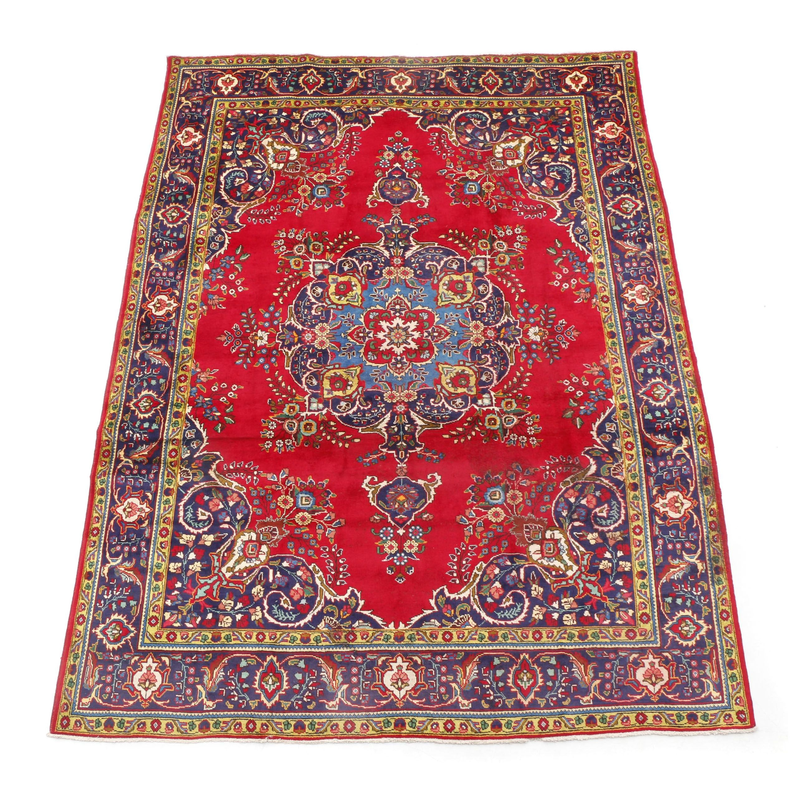 Hand-Knotted Persian Tabriz Room-Sized Rug