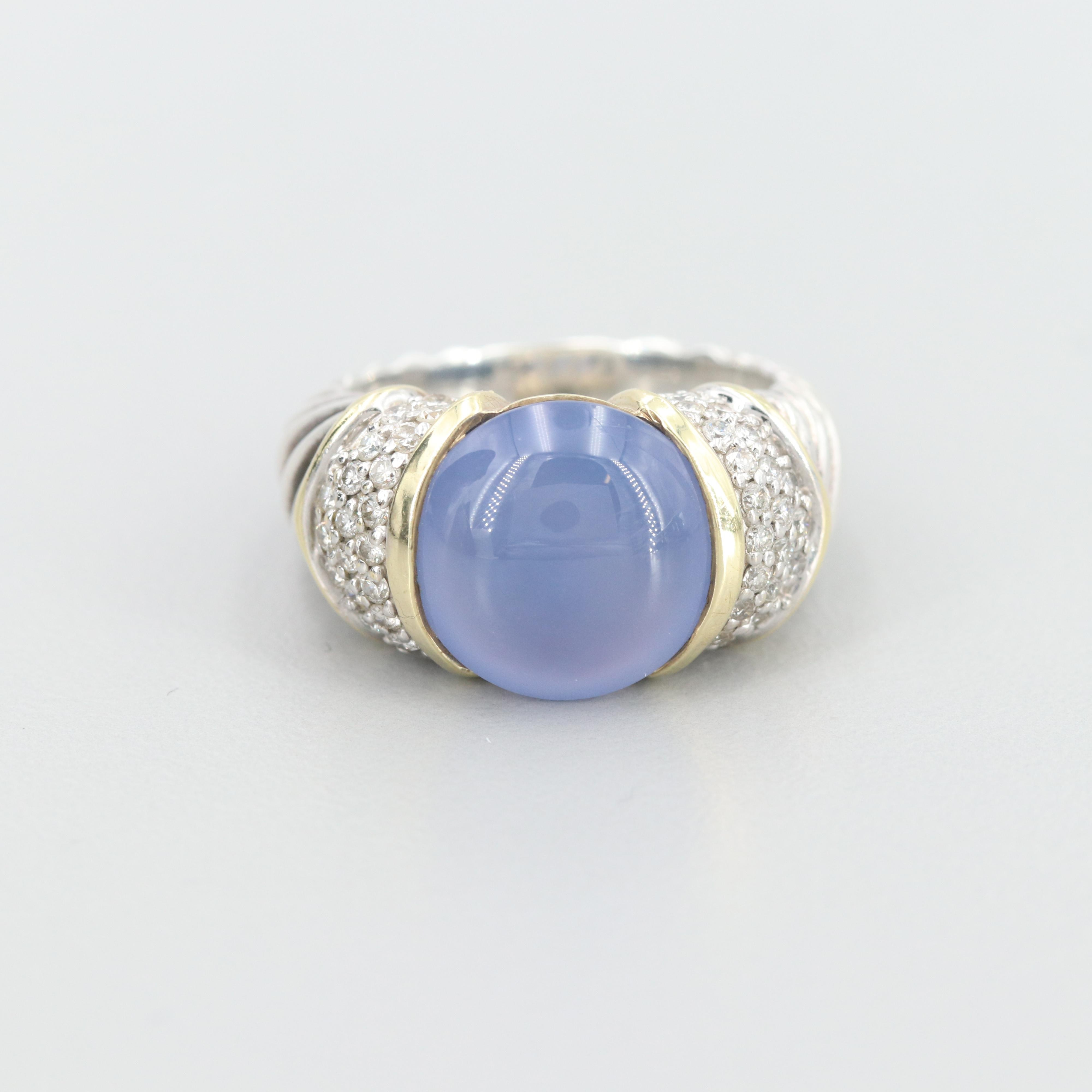 David Yurman Sterling Blue Chalcedony and Diamond Ring with 18K Gold Accents