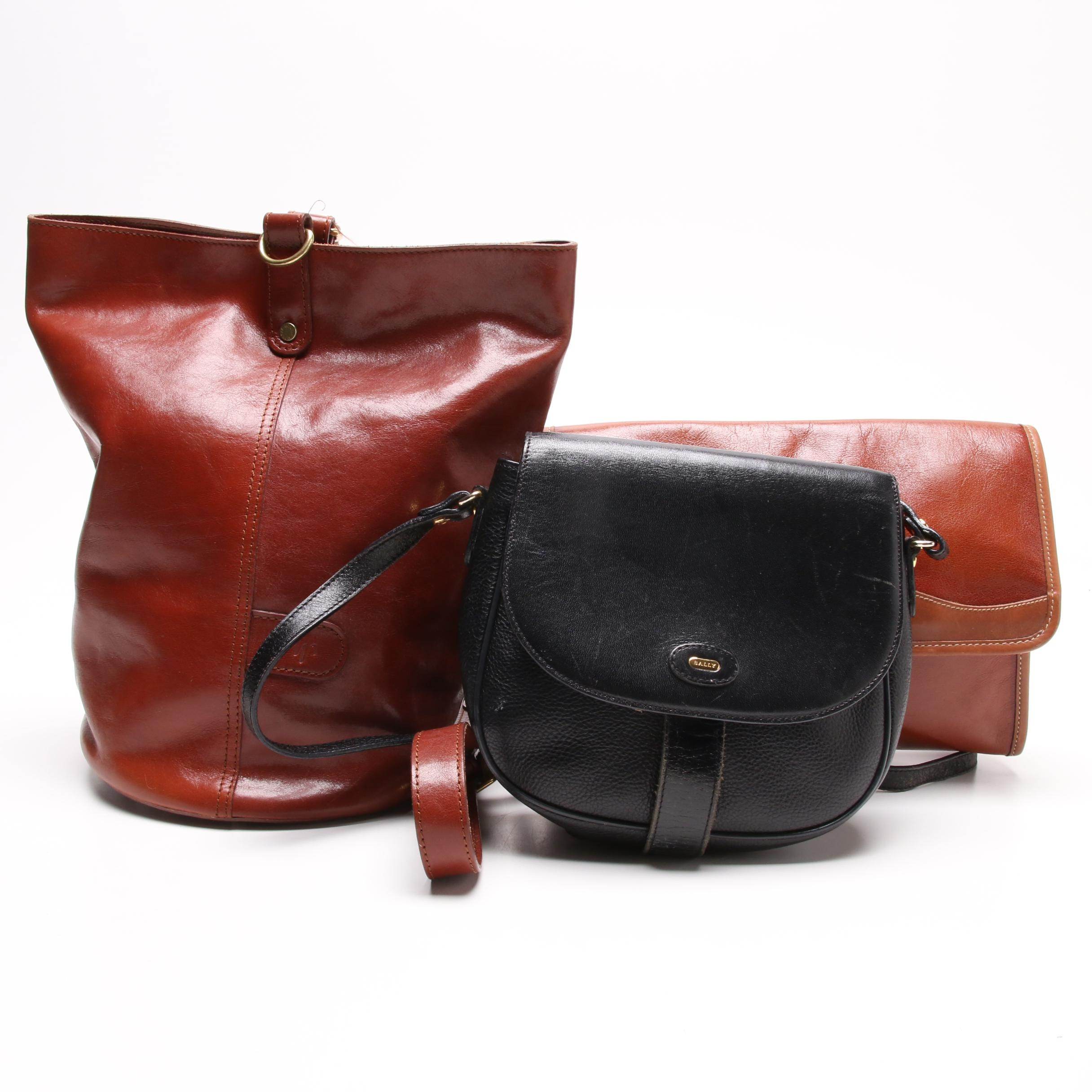 Monsac Original Leather Bucket Bag and Leather Crossbody Bags Including Bally