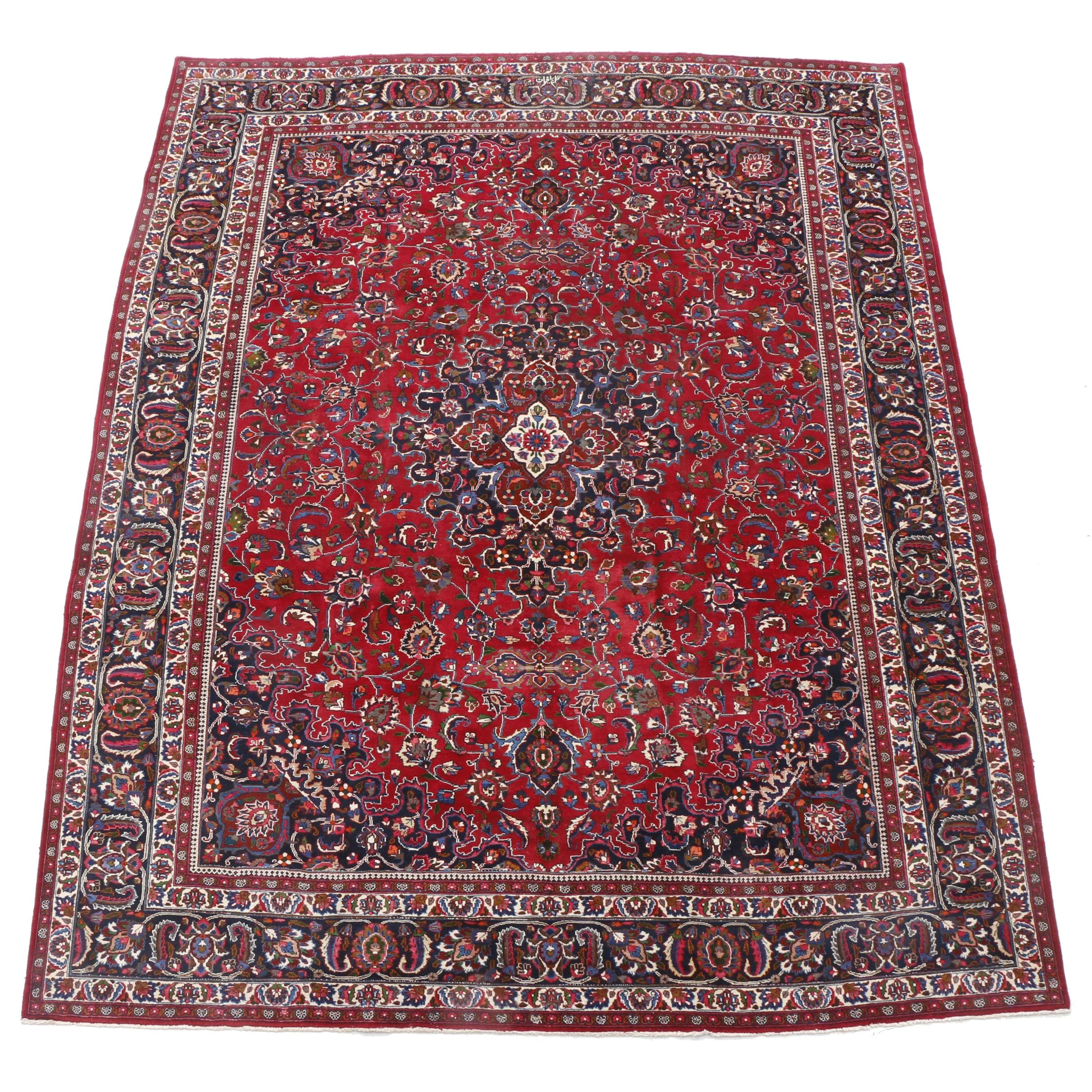 Hand-Knotted Indo-Persian Signed Mashhad Room-Sized Rug