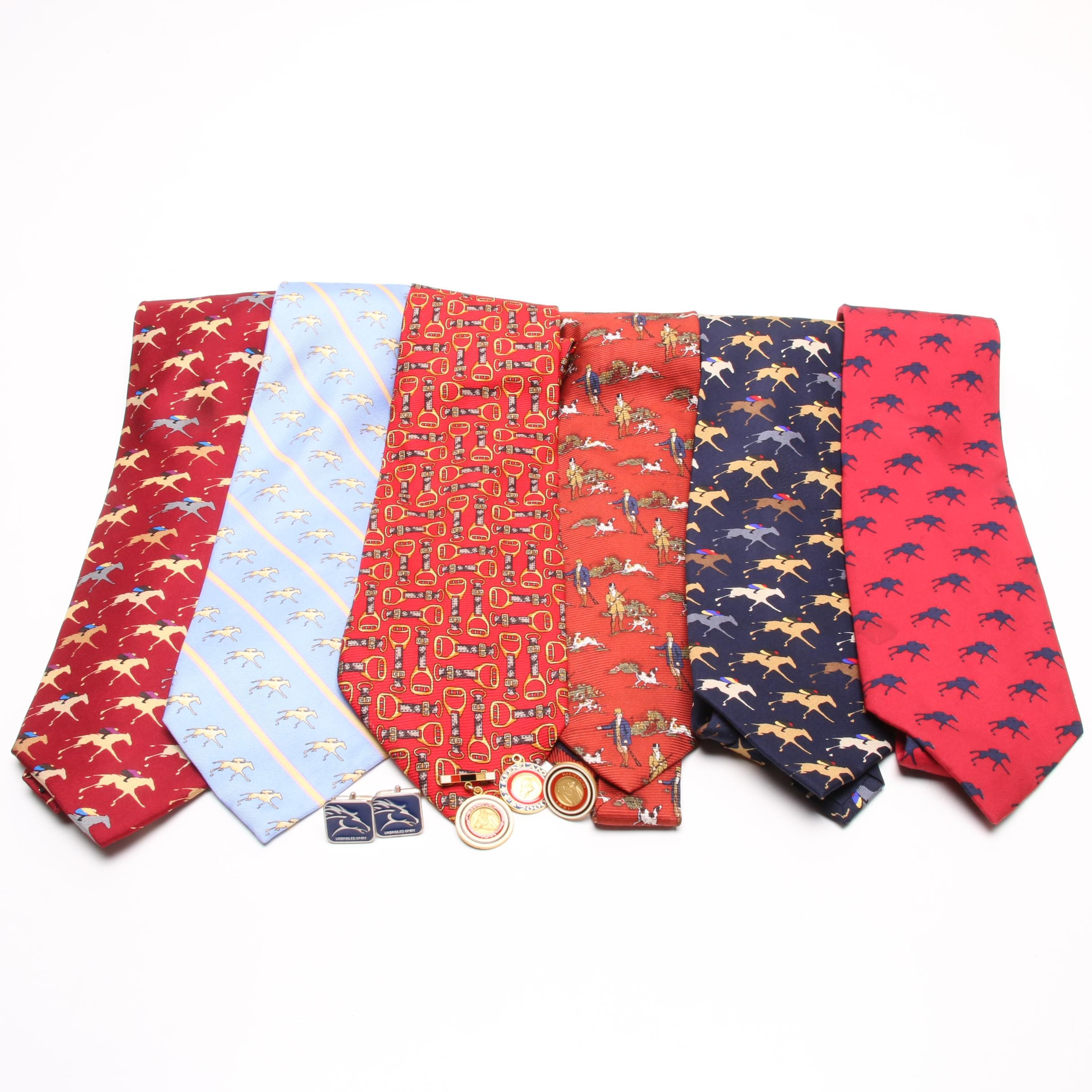 Men's Keeneland Themed Silk Ties and Sterling Silver Enamel Pins