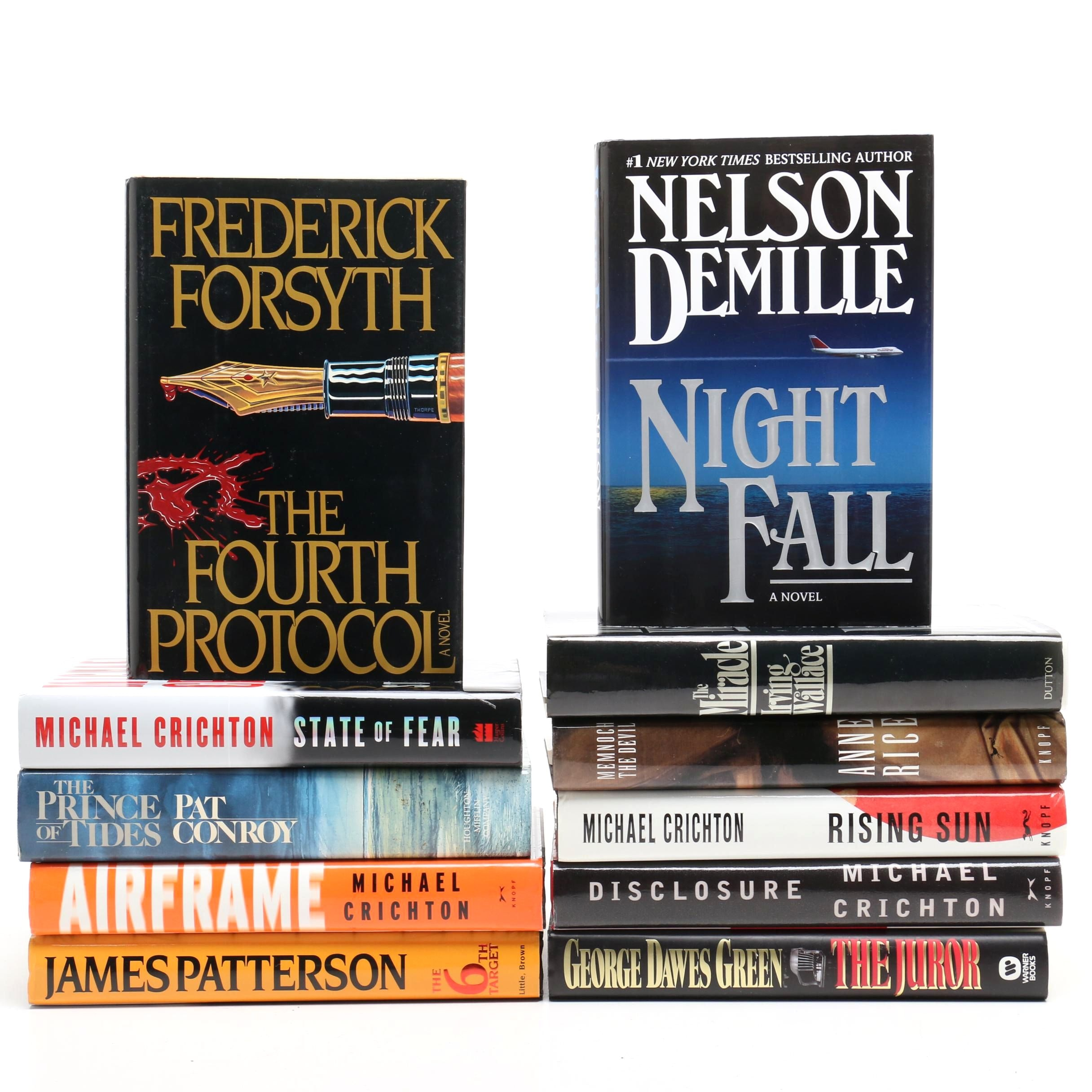 Book Collection of Various Genres including Authors Crichton, Forsyth and Others