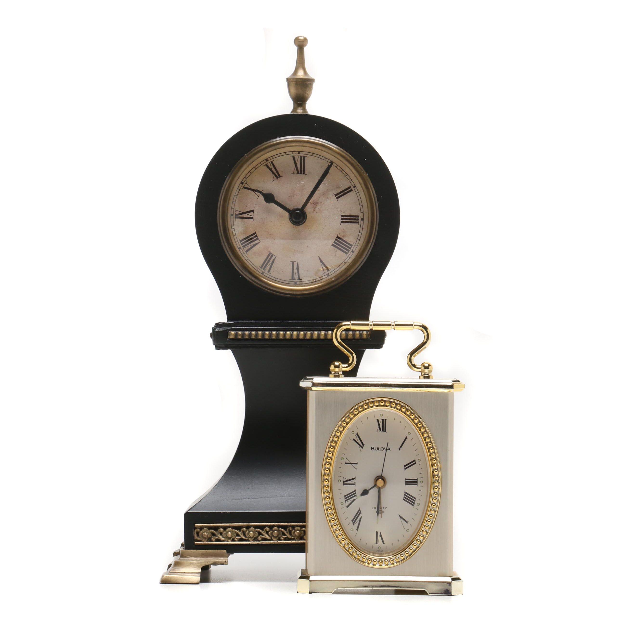 Mantel Clock and Bulova Carriage Clock