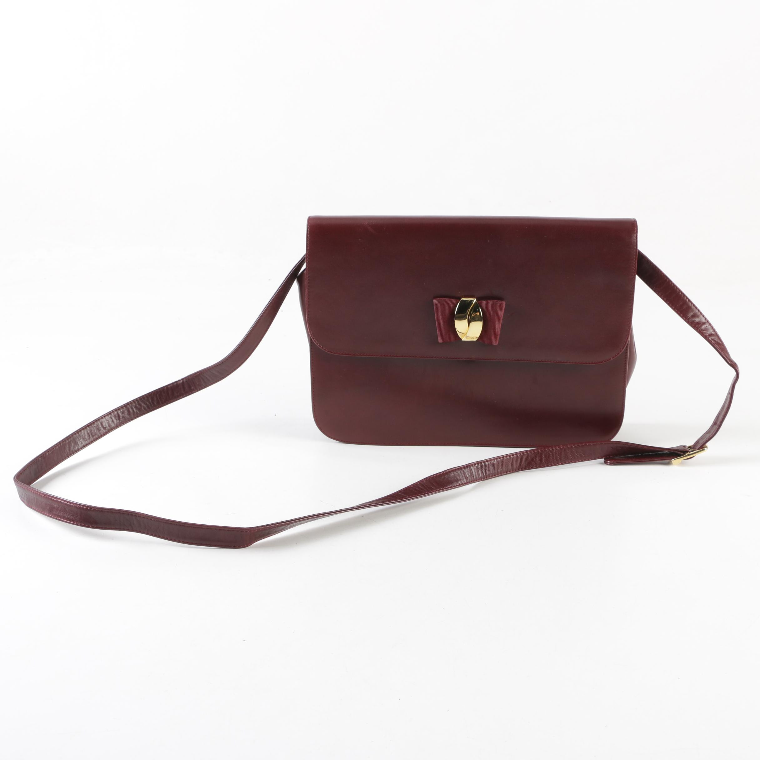 Bally Burgundy Leather Crossbody Bag with Bow Accent