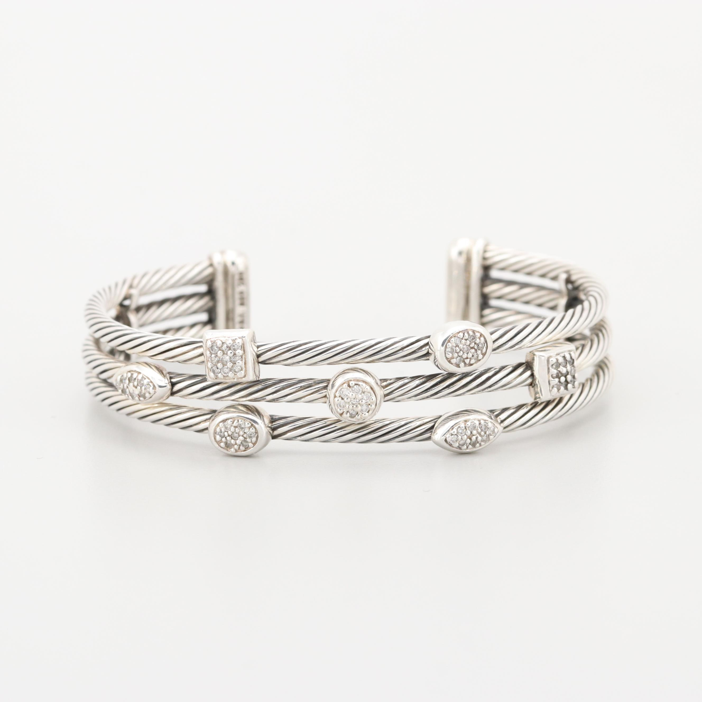 "David Yurman Sterling Silver and 18K White Gold Diamond ""Confetti"" Cuff Bracelet"
