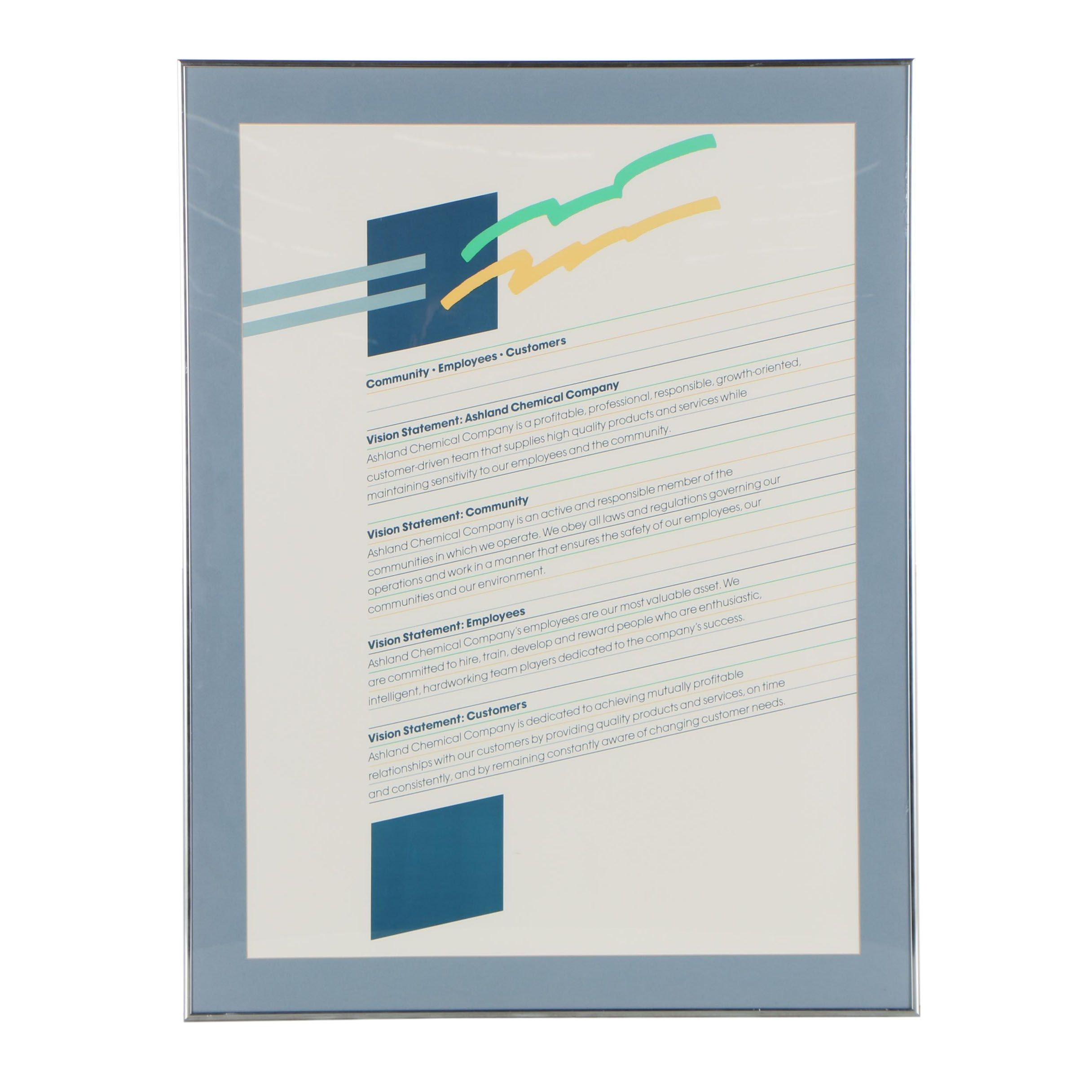 Ashland Chemical Company Lithograph Vision Statement Poster