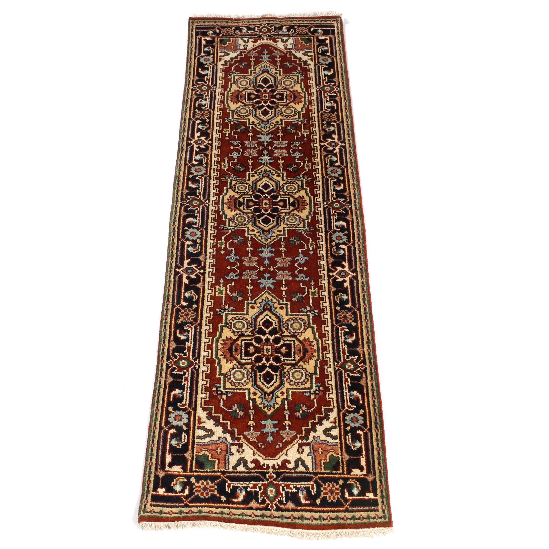 2.5' x 8.4' Hand-Knotted Indo-Persian Heriz Carpet Runner