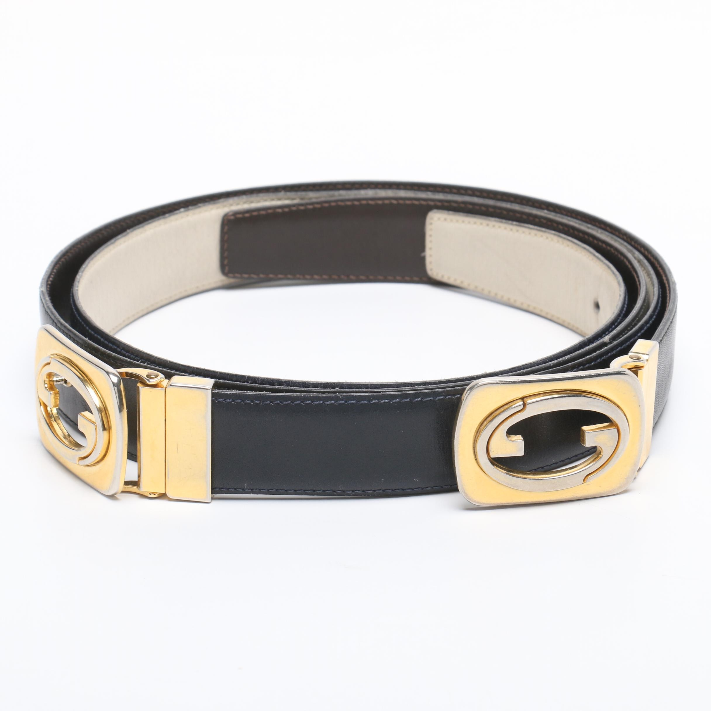Vintage Gucci GG Buckle Leather Belts