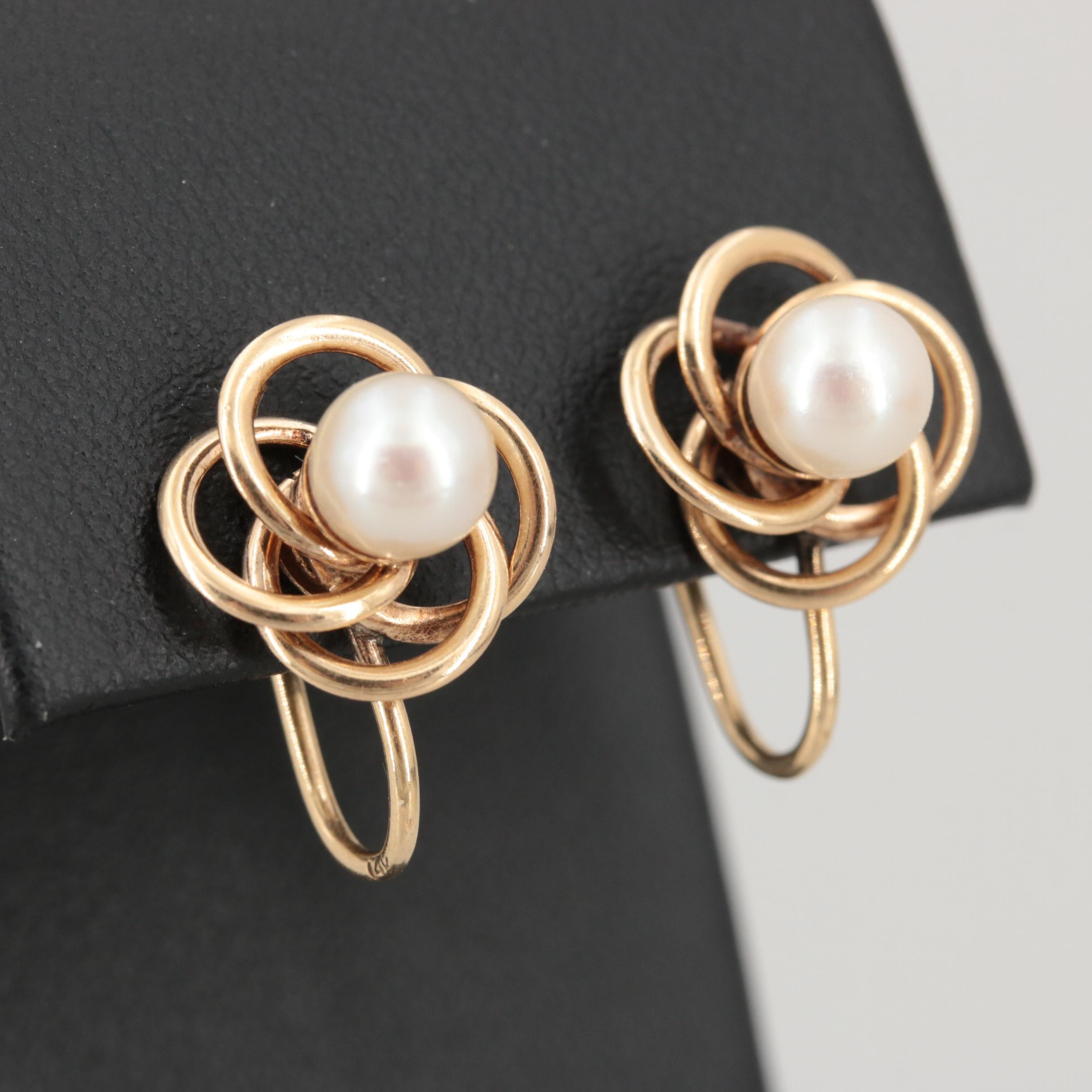 14K Yellow Gold Cultured Pearl Love Knot Earrings