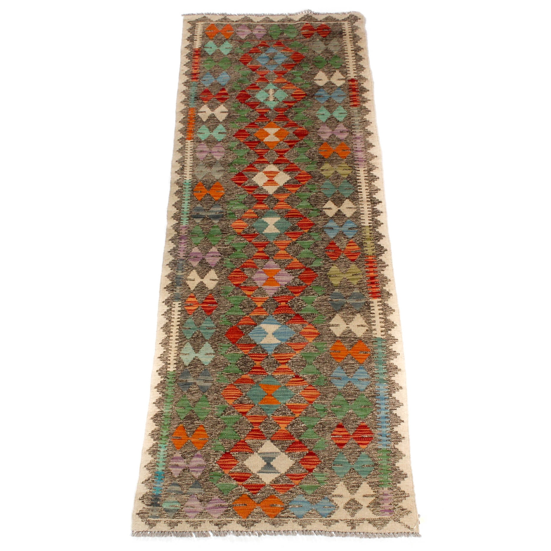 2.3' x 6.8' Hand-Knotted Turkish Kilim Carpet Runner