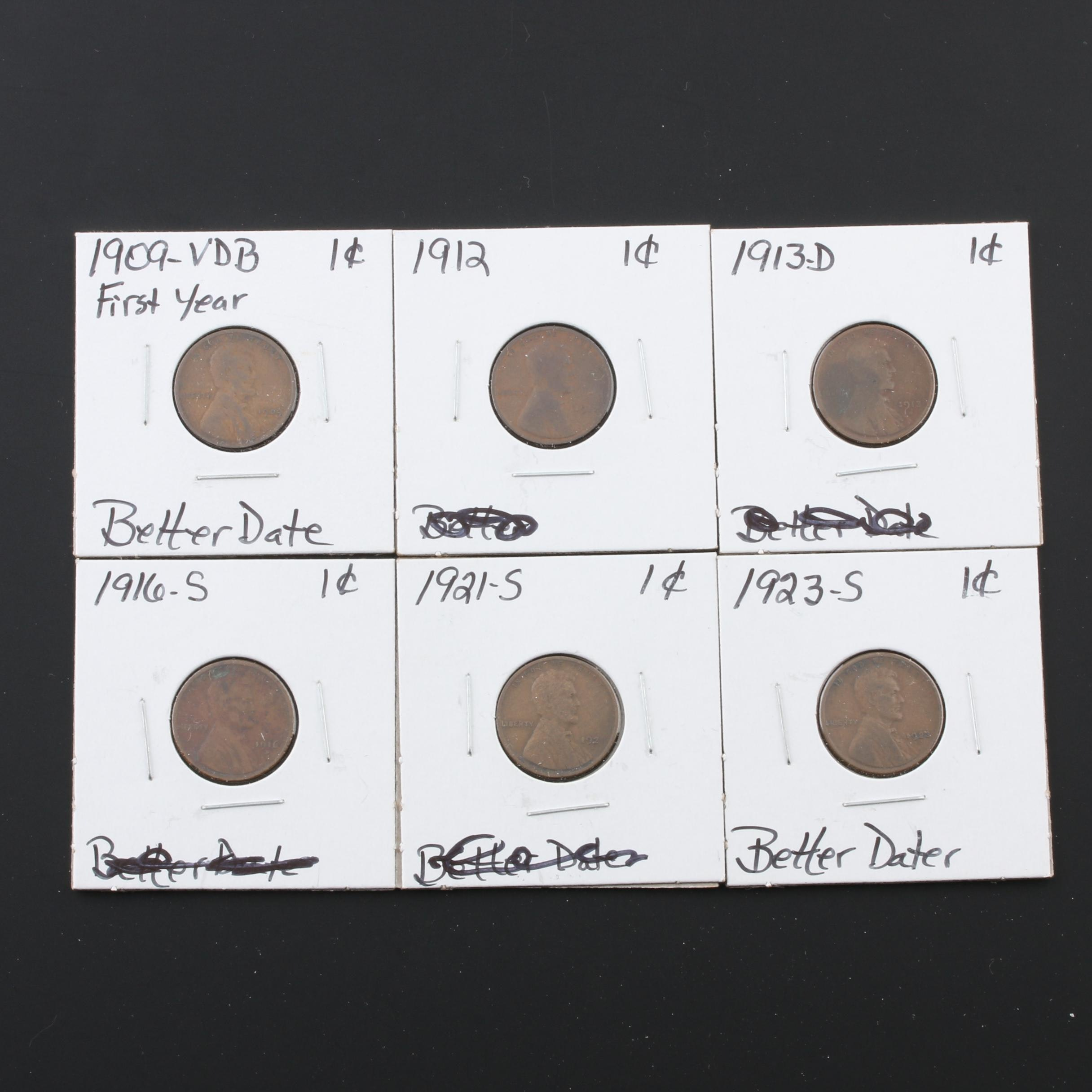 Group of Six Lincoln Wheat Cents