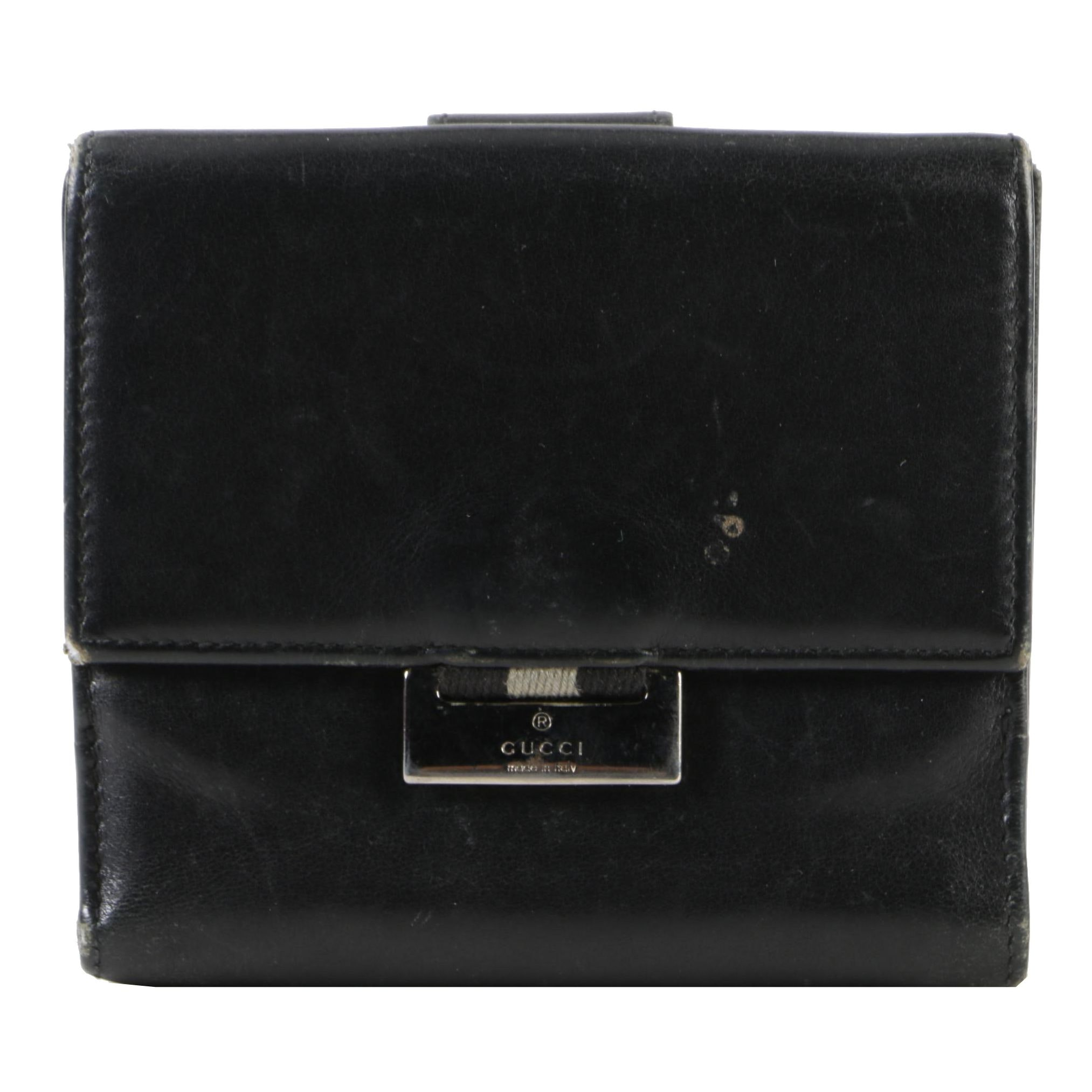 Gucci French Flap Black Leather Wallet
