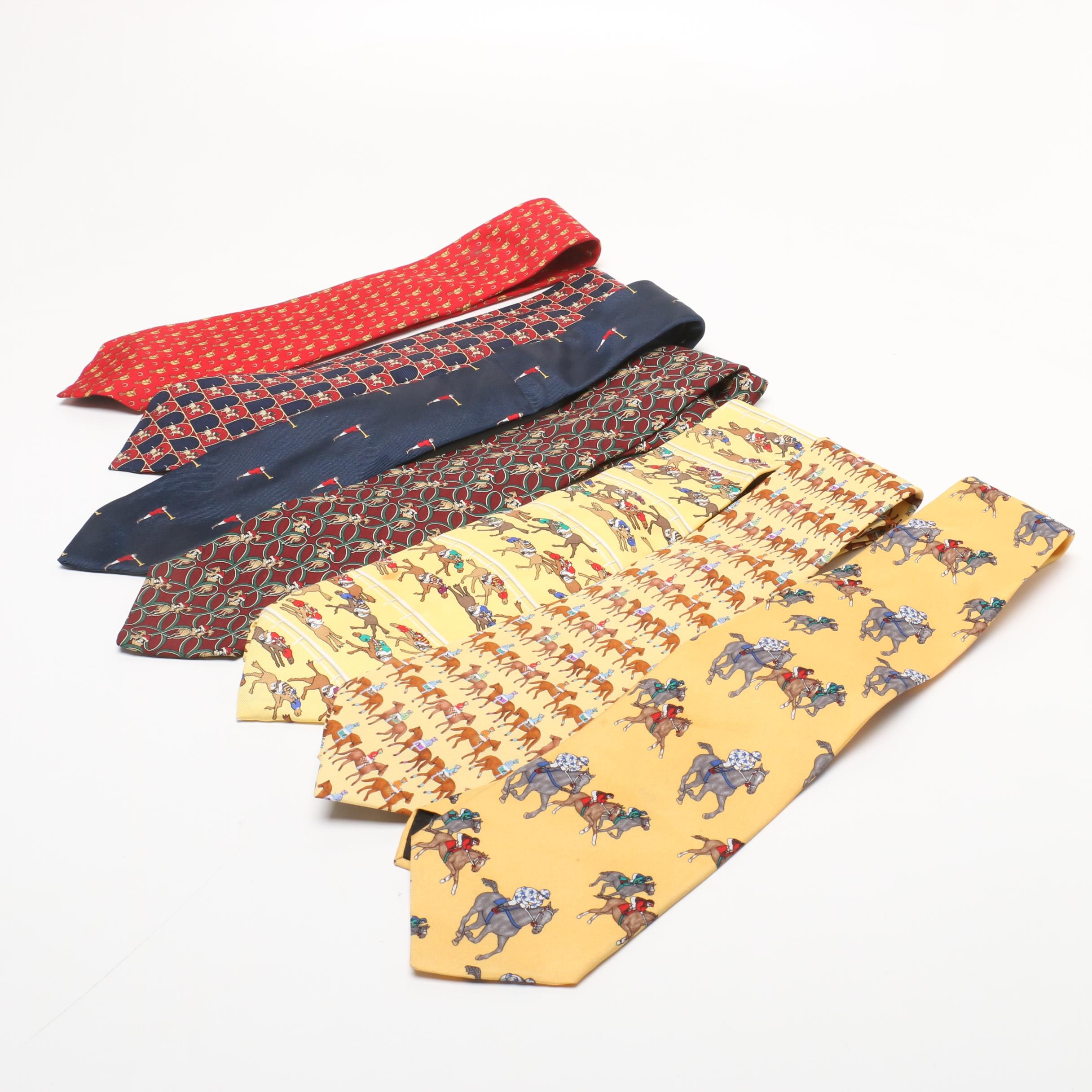 Men's Neckties with Race Horse Patterns Including Brooks Brothers and Alynn