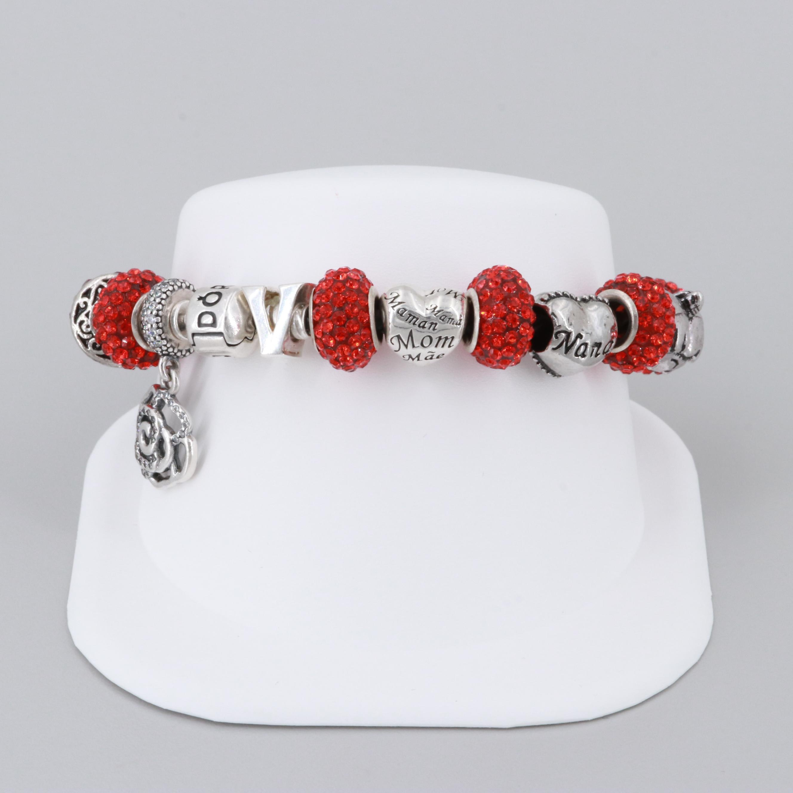 Pandora and Charm Leather Bracelet Including Sterling Silver and Cubic Zirconia