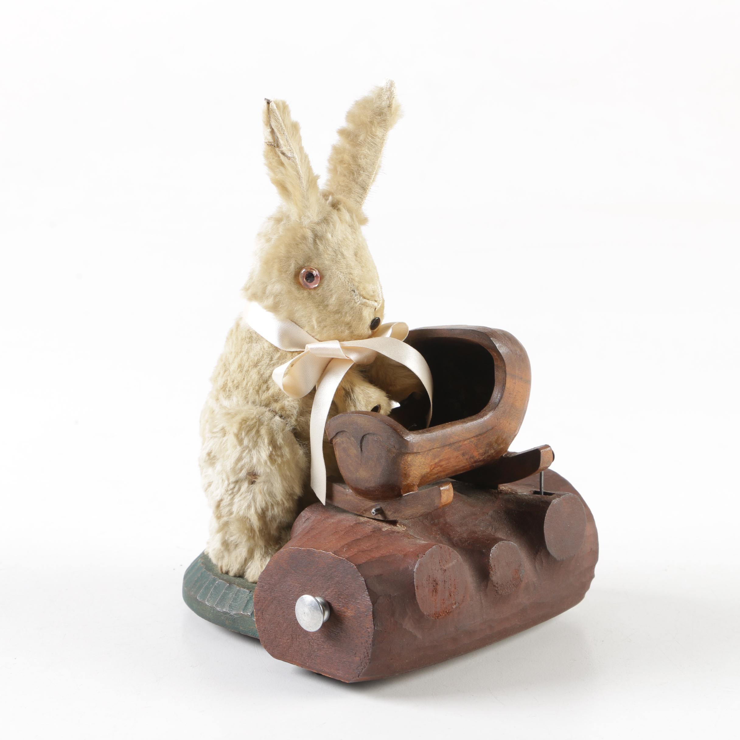 German Style Automaton Rabbit Rocking Cradle Musical Figurine
