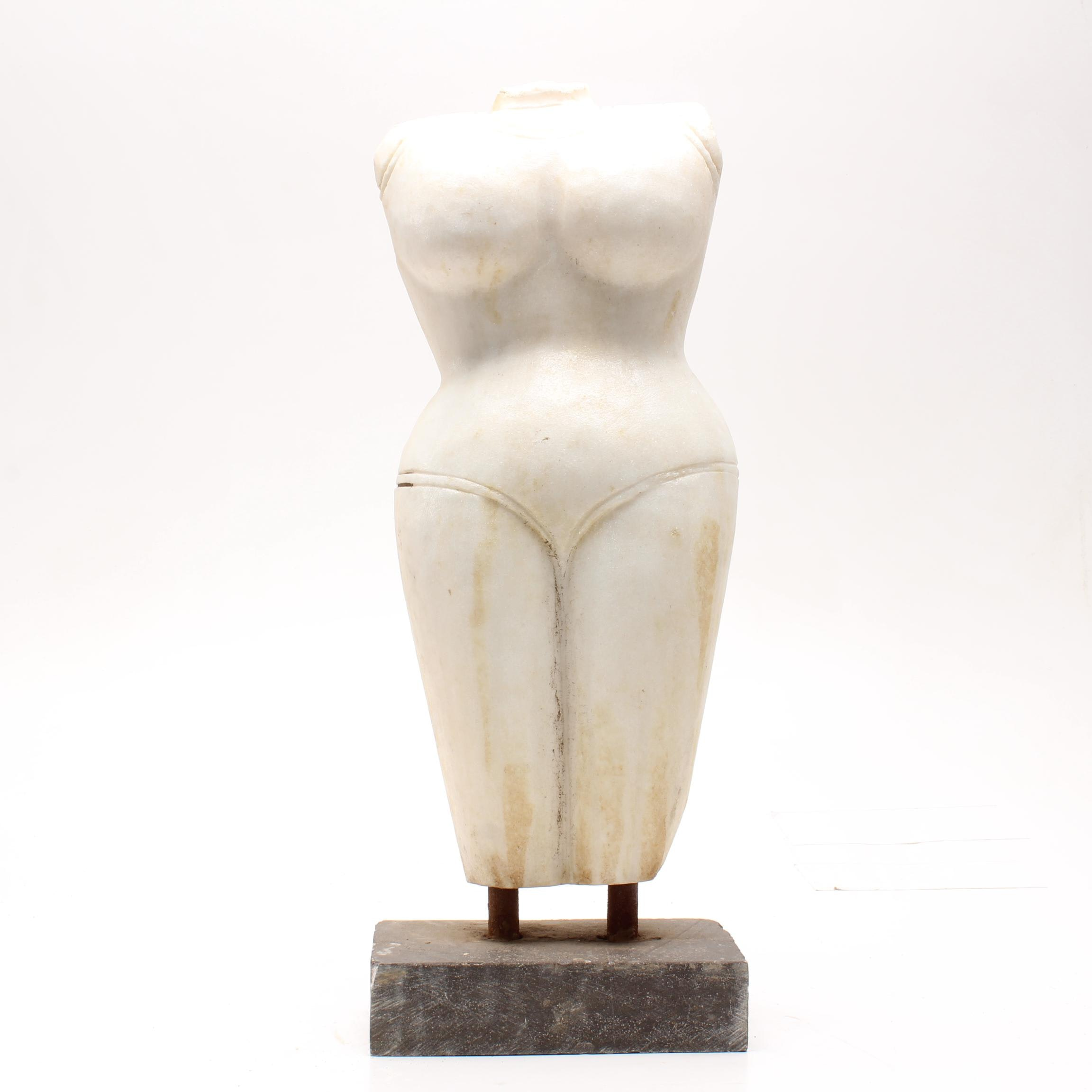 South Asian Style Marble Torso Sculpture