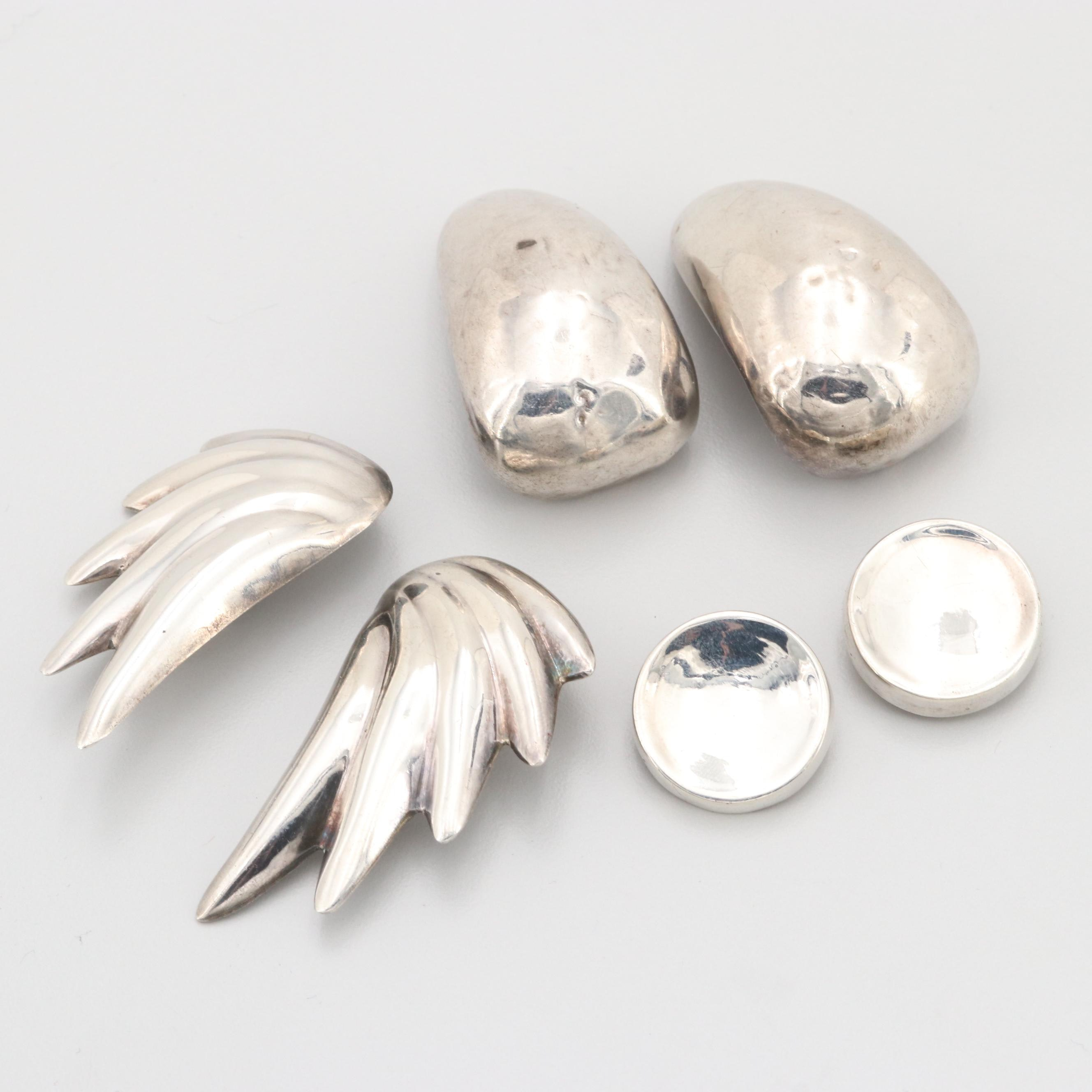 Vintage Sterling Silver Clip On Earrings Featuring Varsano