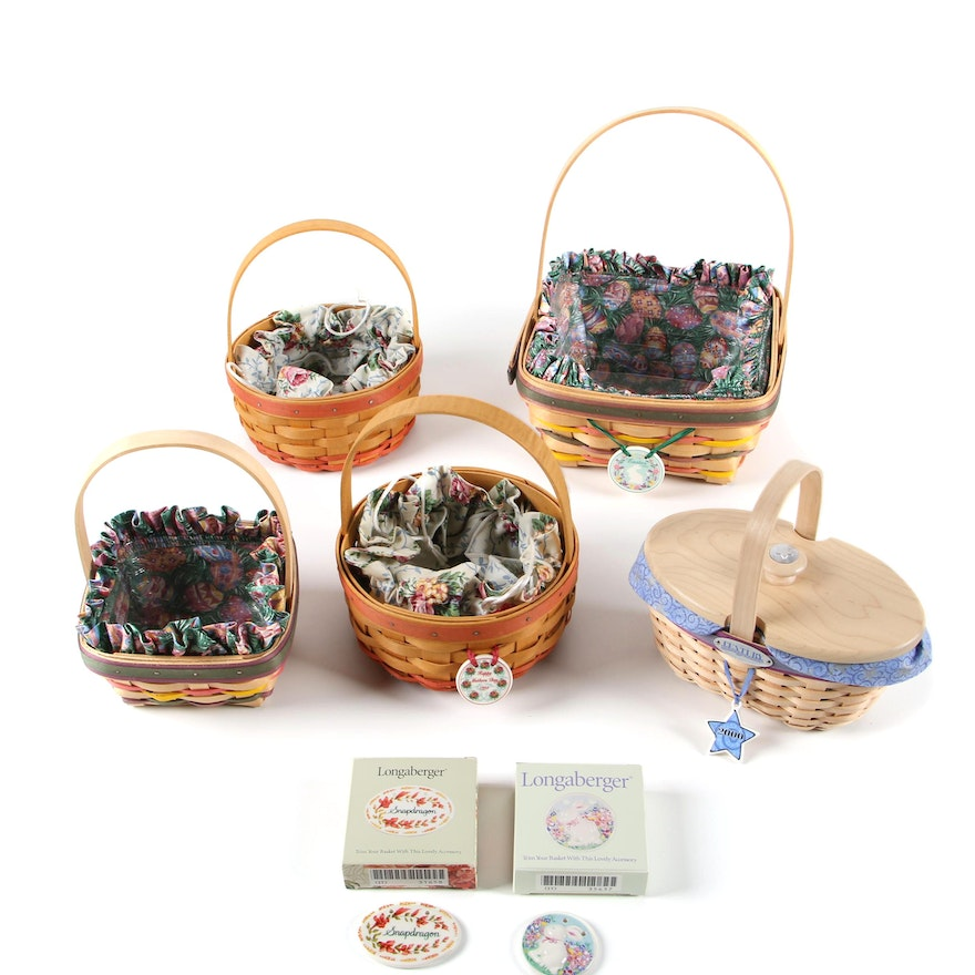 Longaberger Easter Baskets with Tie-Ons and More, 1990s
